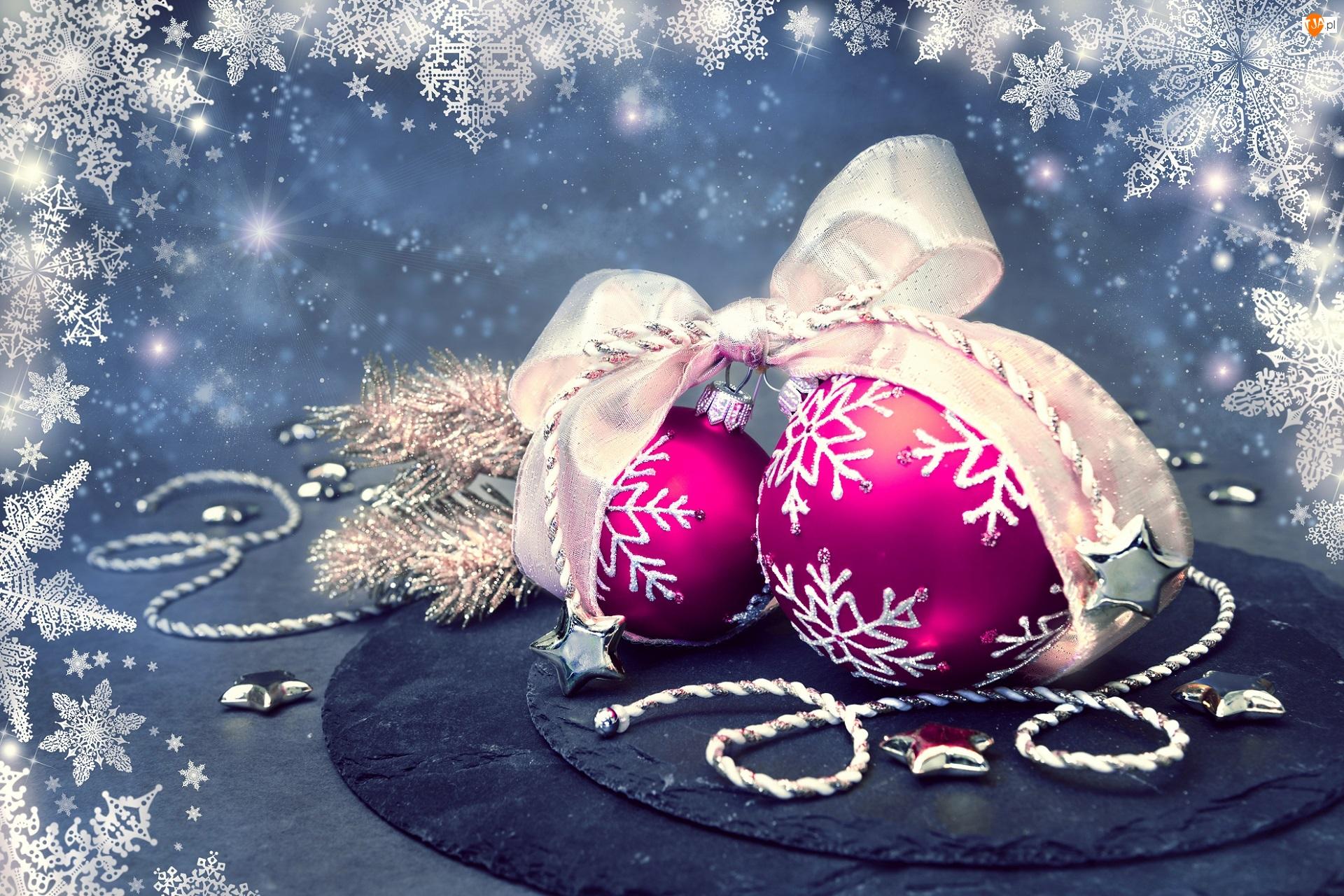 Bombki, Gwiazdki, Dekoracja, Boże Narodzenie, Wstążka