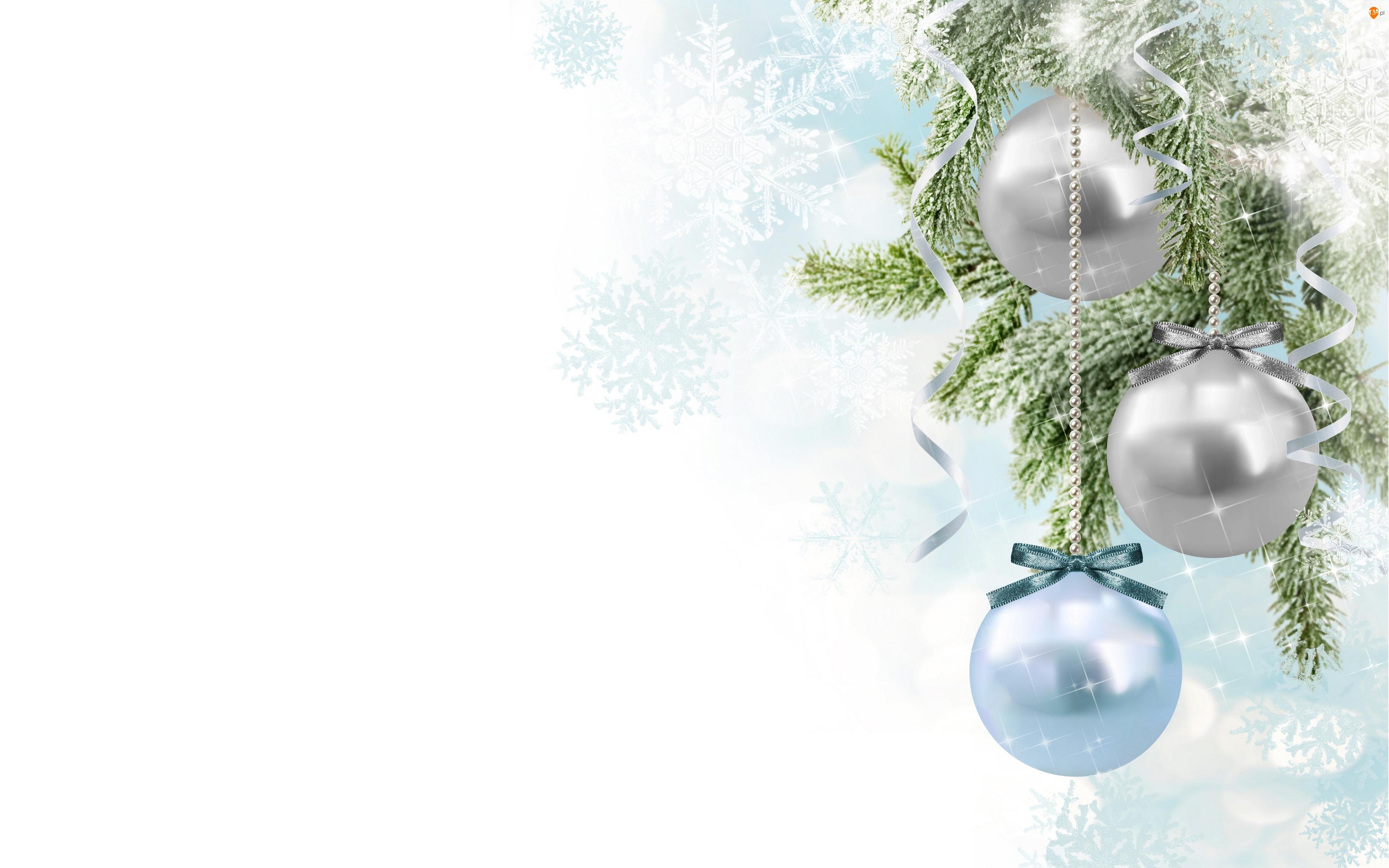 Boże Narodzenie, Trzy, Bombki, Gałązki