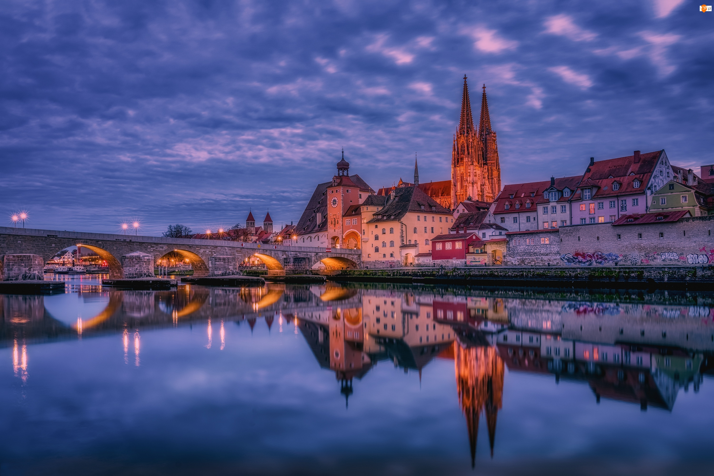 Kościół, Regensburg, Katedra Św. Piotra, Bawaria, Miasto Ratyzbona, Most, Niemcy, Rzeka Dunaj
