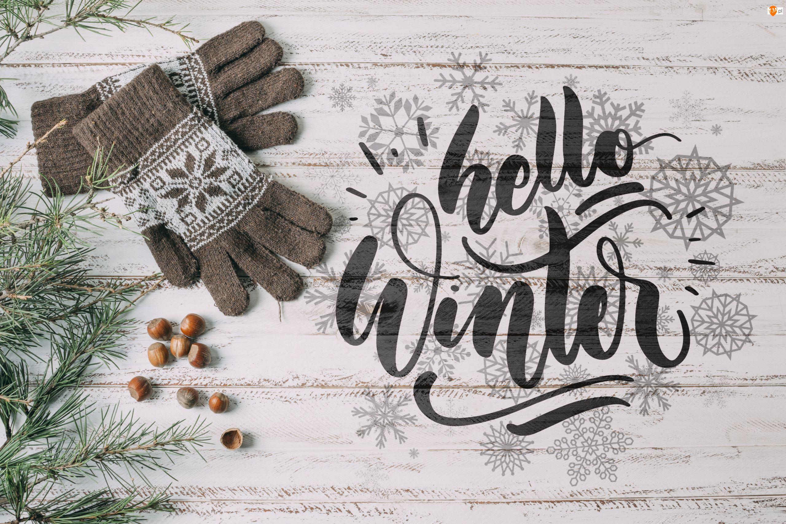 Gałązki, Rękawiczki, Śnieżynki, Zima, Orzechy, Napis