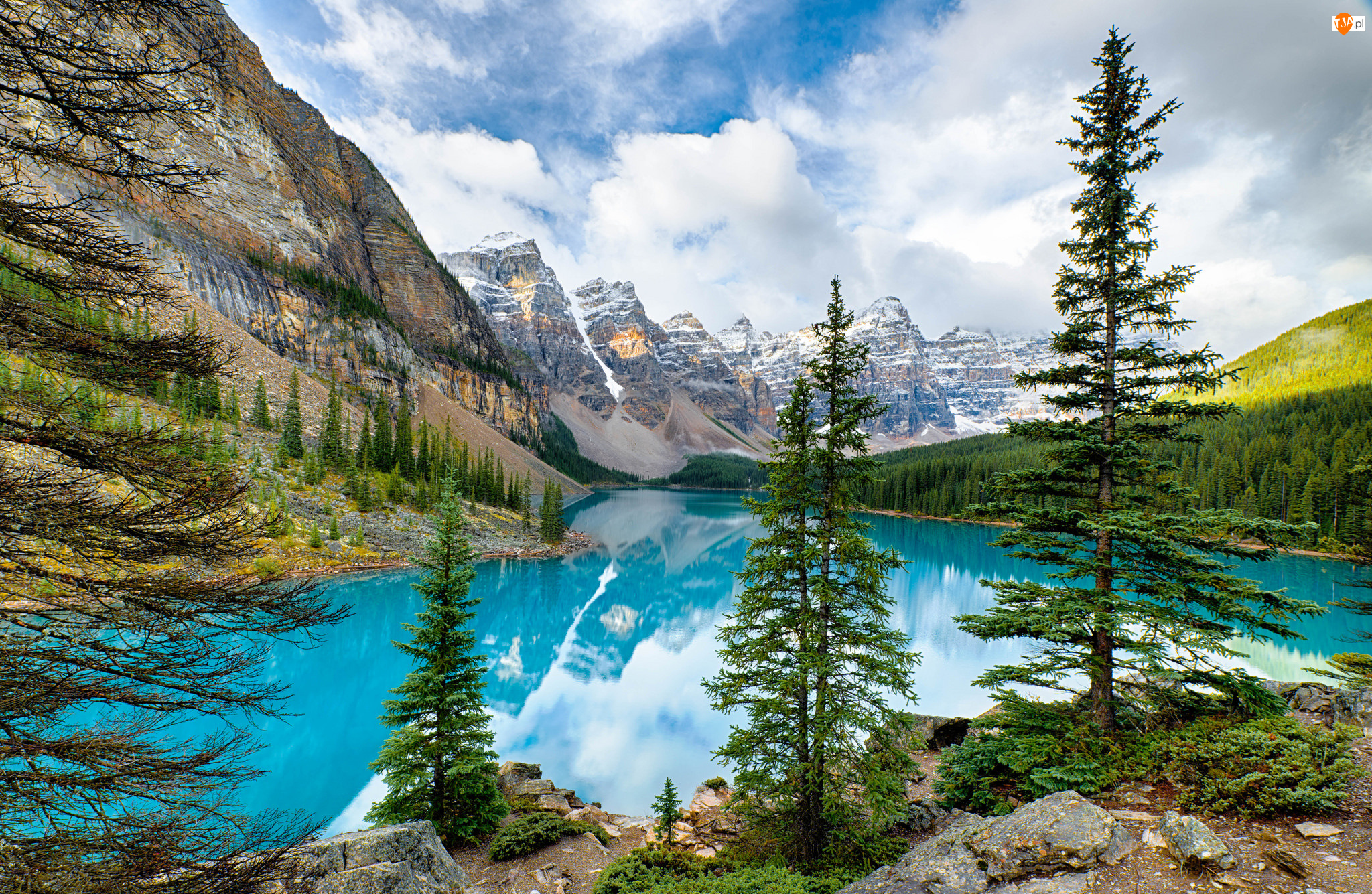 Prowincja Alberta, Park Narodowy Banff, Góry, Kanada, Drzewa, Las, Jezioro Moraine
