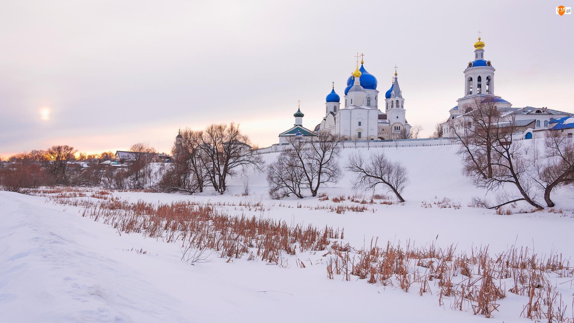 Niebieskie, Cerkiew, Zima, Trawa, Kopuły, Drzewa