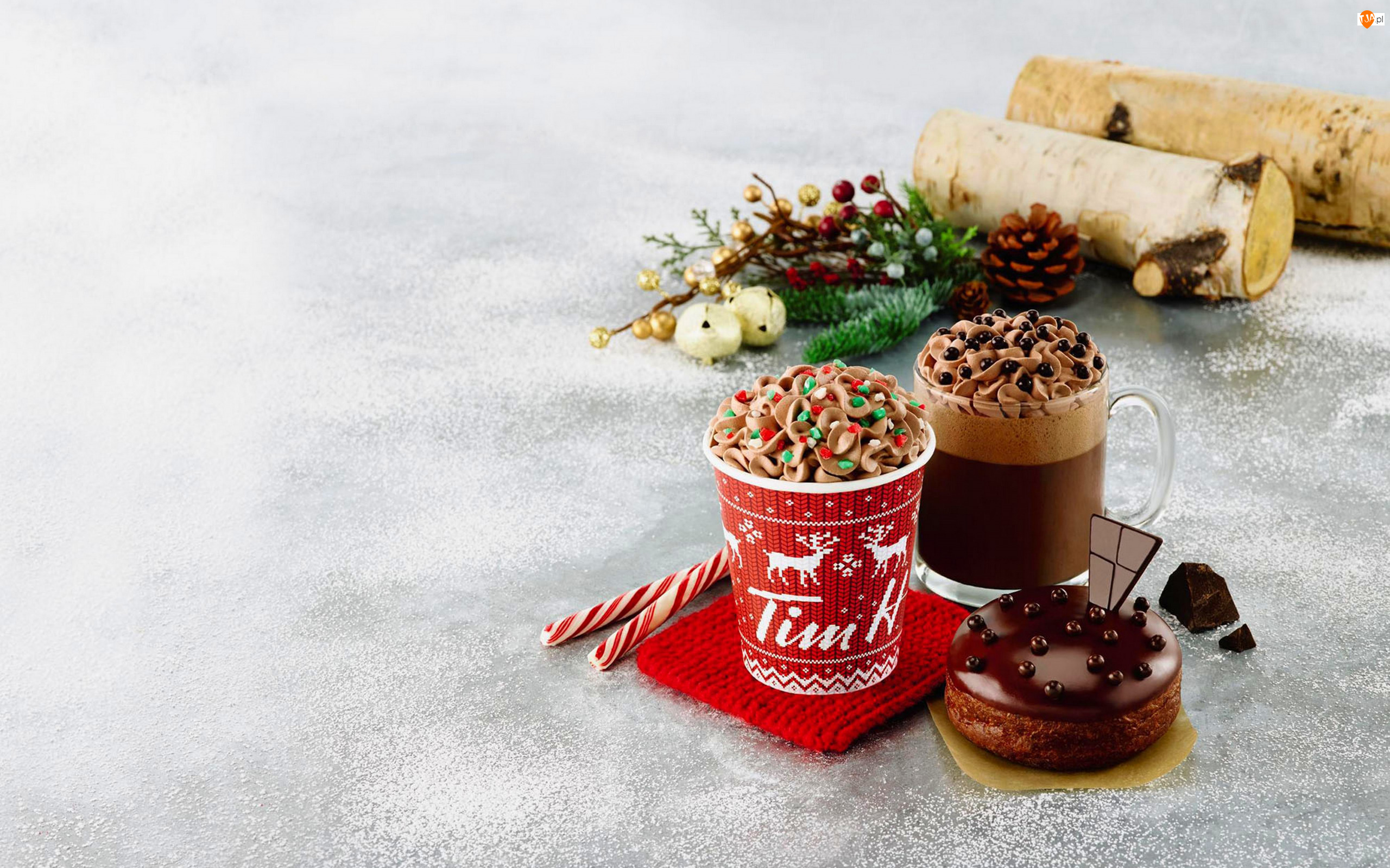 Kawa, Kubki, Ciasteczko, Świąteczne, Krem czekoladowy, Ozdoby