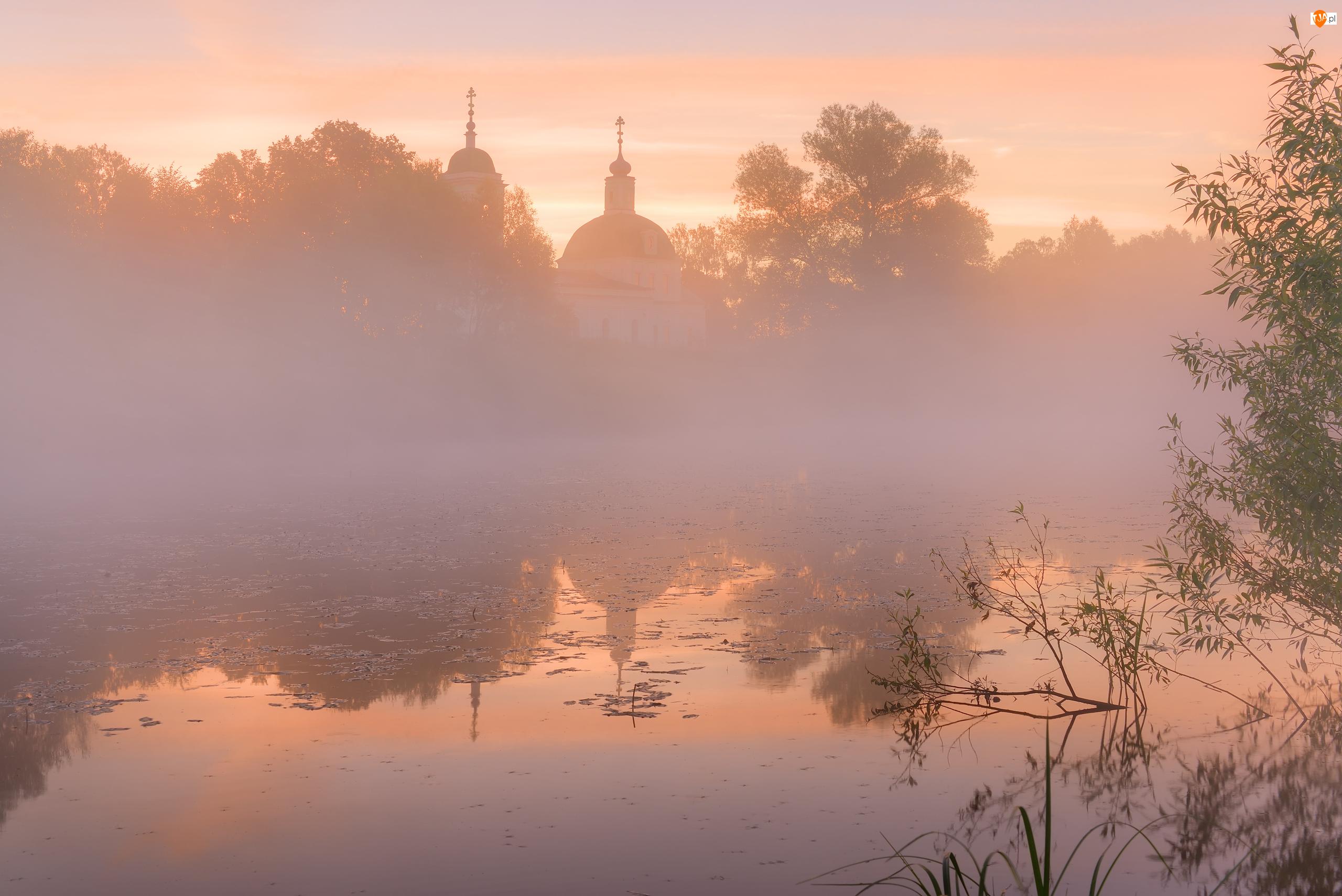 Staw, Wschód słońca, Mgła, Cerkiew