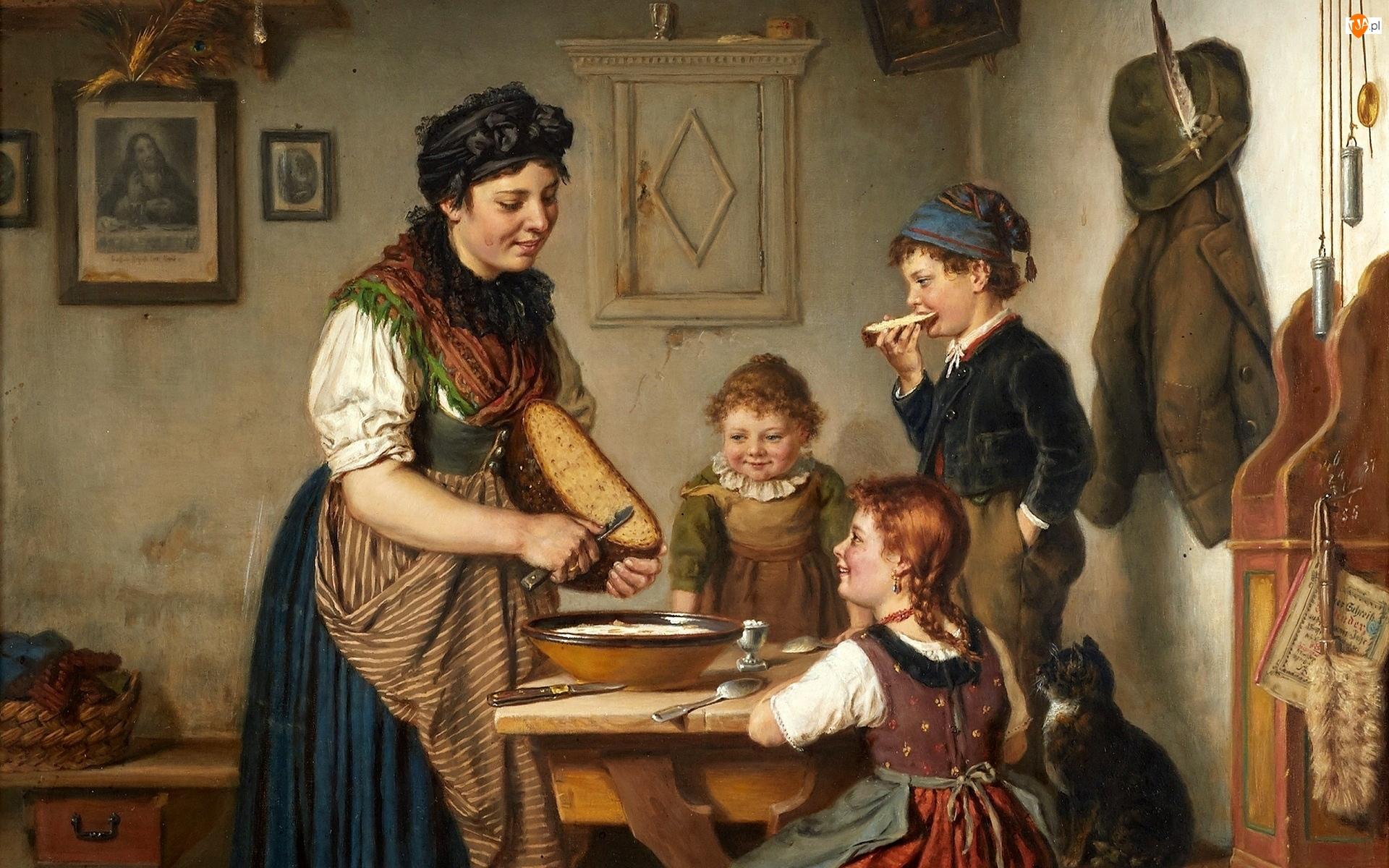 Dzieci, Kuchnia, Karl Hetz, Kobieta, Obraz, Malarstwo, Chleb