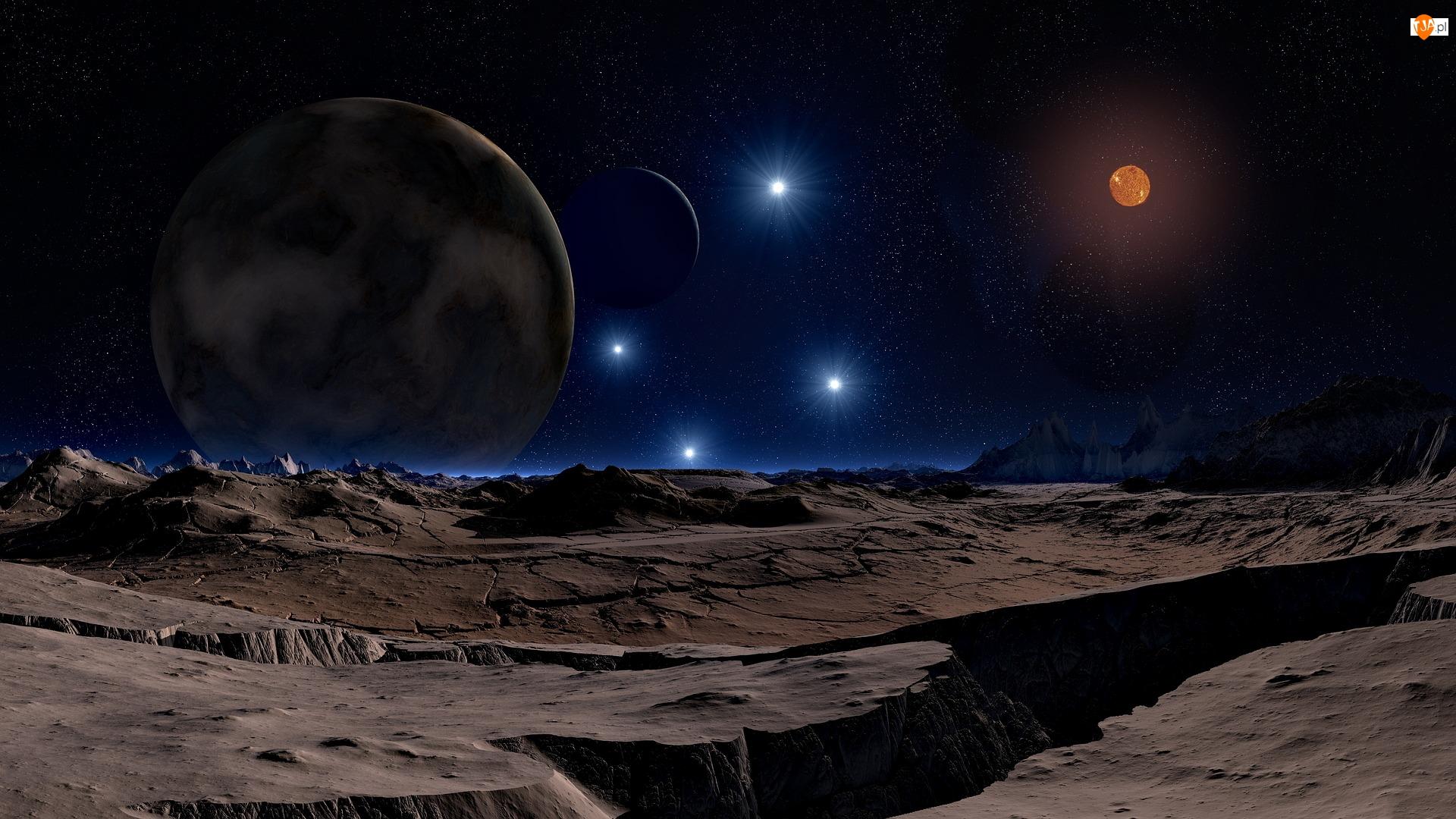 Krajobraz, Księżyc, 3D, Księżycowy, Gwiazdy, Planety, Kosmos