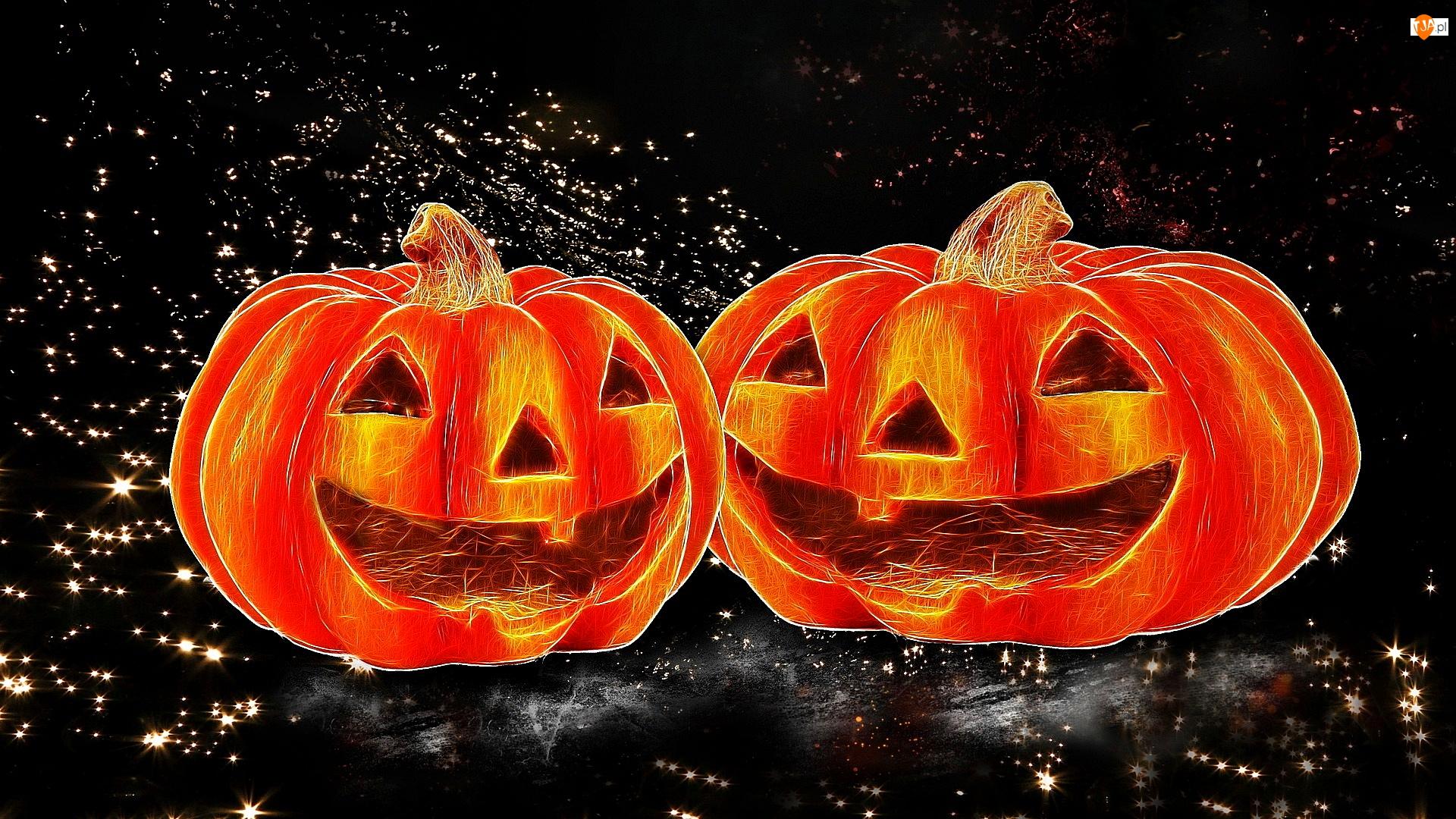Dynie, Światełka, Halloween, Dwie, Grafika, Tło, Czarne