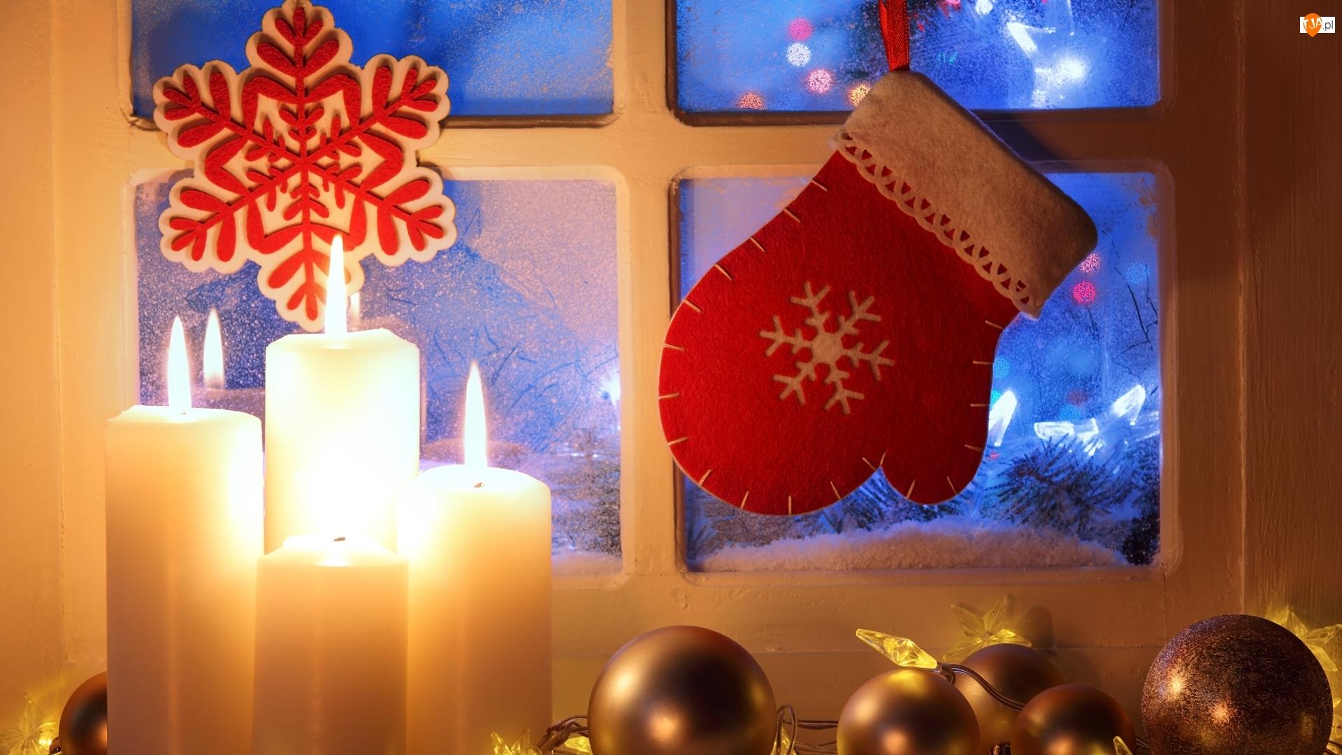 Kompozycja, Okno, Boże Narodzenie, Świąteczna, Bombki, Świece, Dekoracja