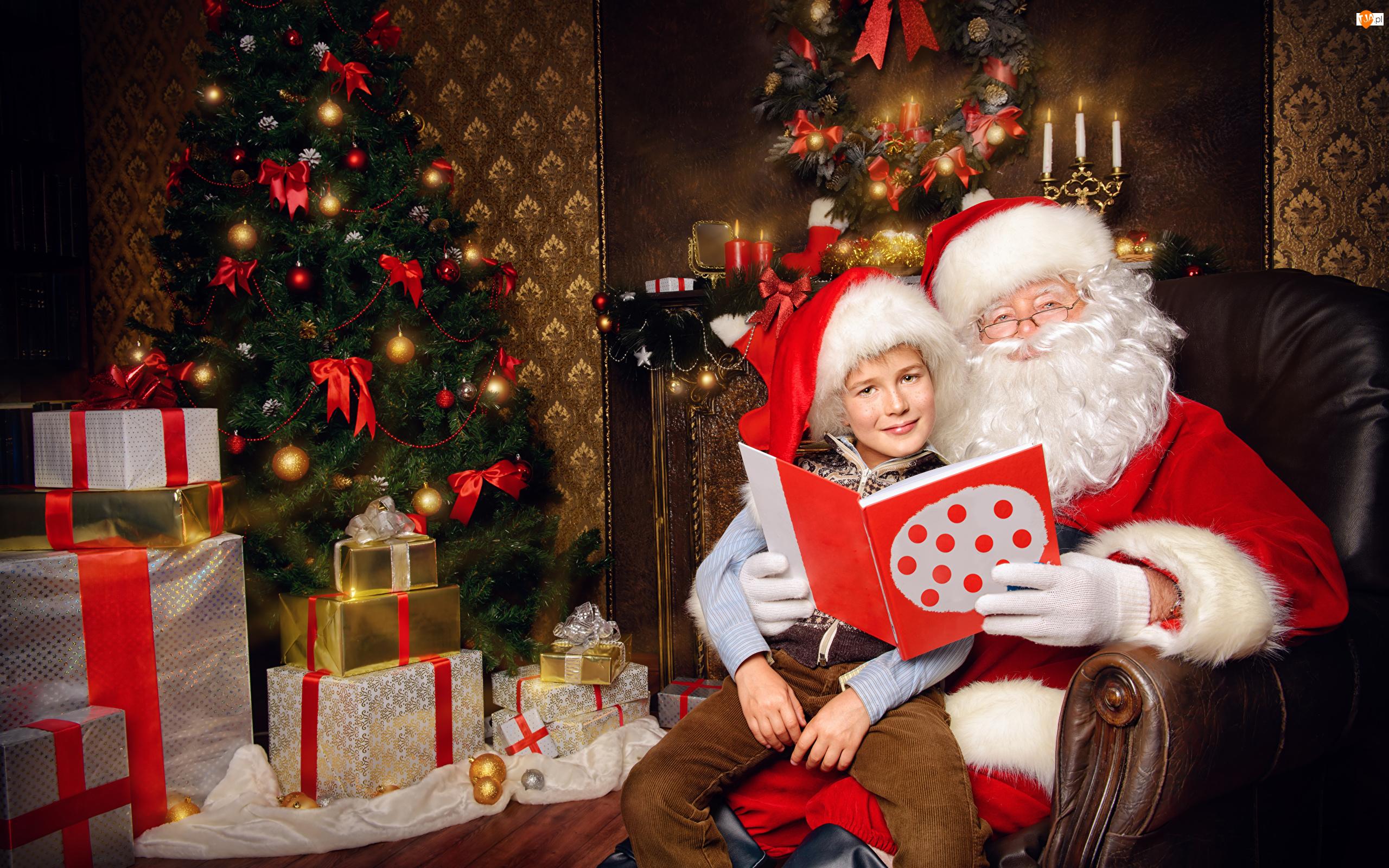 Mikołaj, Boże Narodzenie, Książka, Choinka, Dziecko, Prezenty