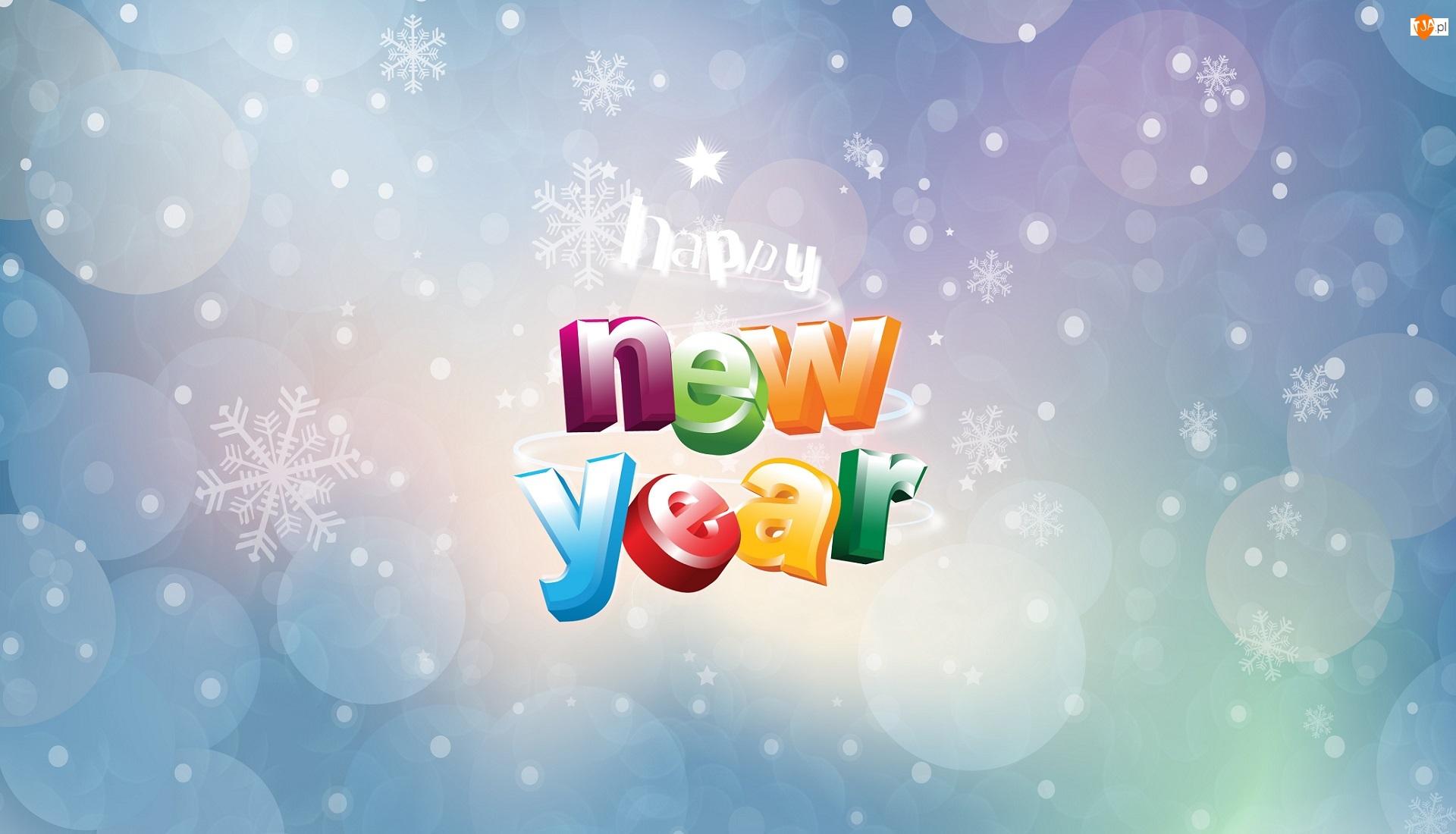 Sylwester, Napis, Szczęśliwego Nowego Roku, Gwiazdki