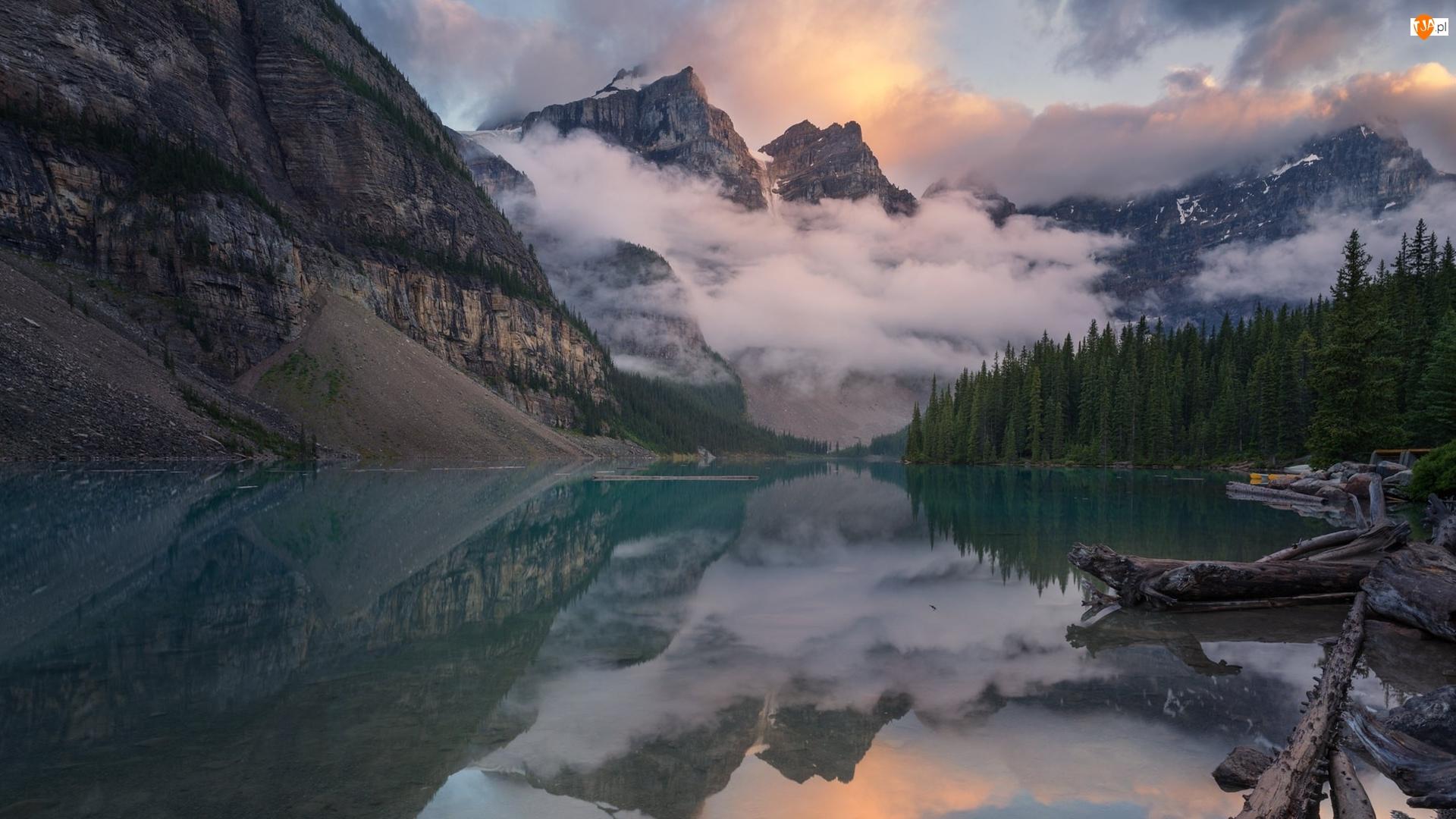 Alberta, Park Narodowy Banff, Chmury, Kanada, Drzewa, Góry, Jezioro Moraine