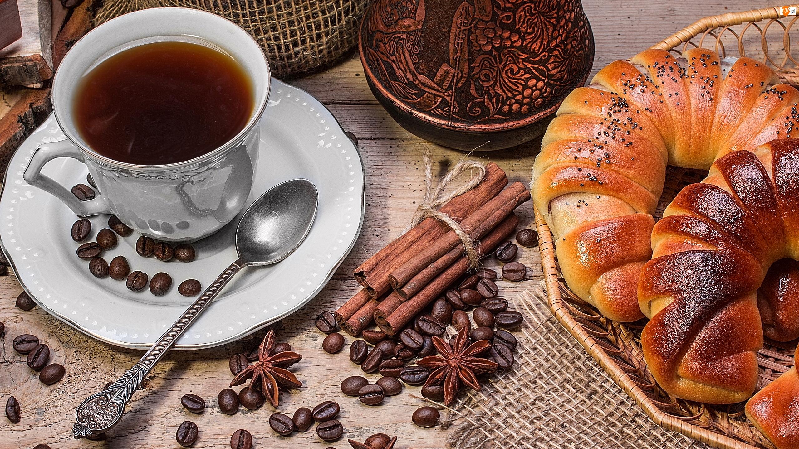 Filiżanka, Kawa, Anyż, Koszyk, Cynamon, Rogale