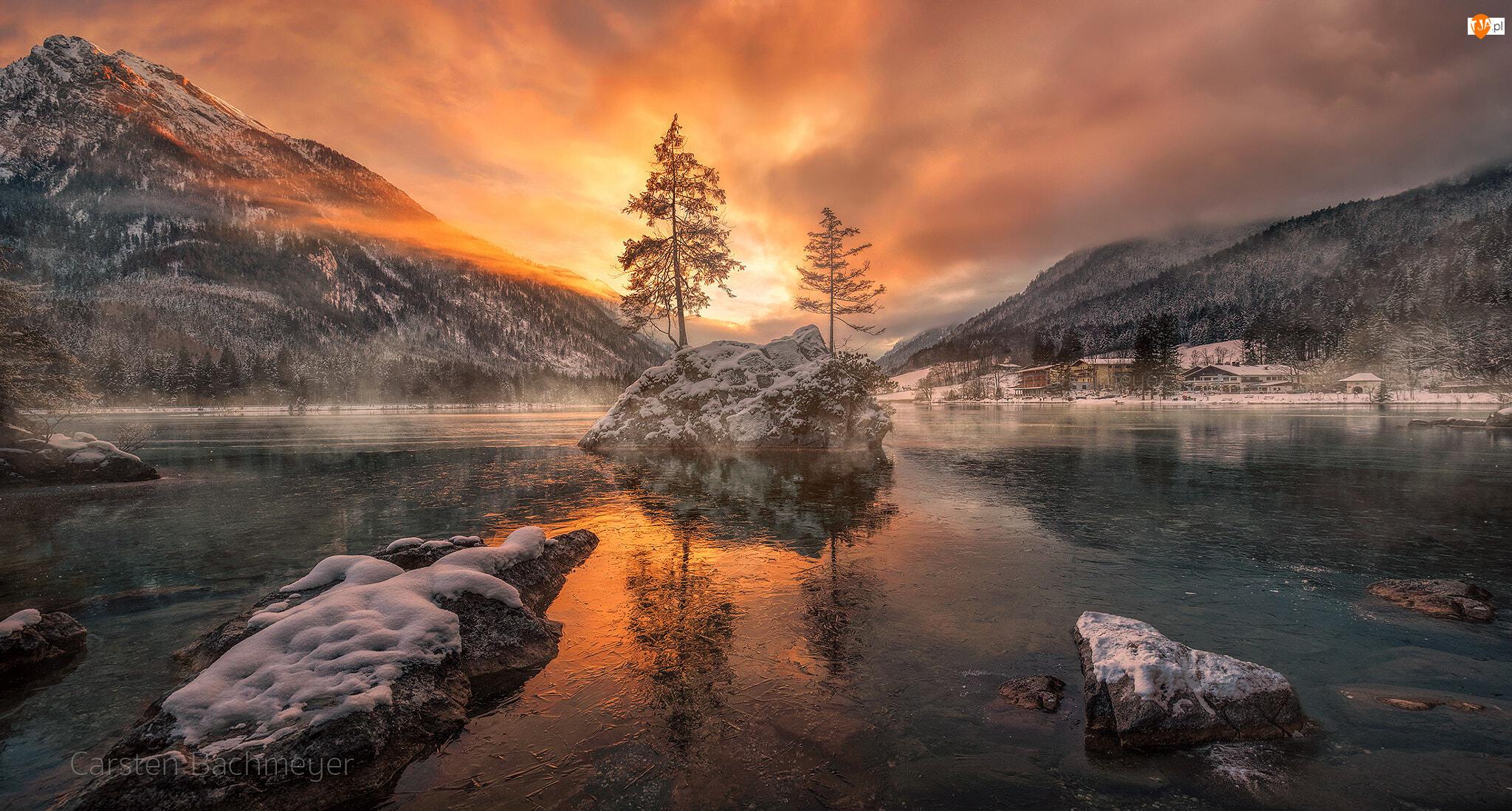 Niemcy, Kamienie, Gmina Berchtesgadener, Skały, Jezioro Hintersee, Zima, Góry Alpy, Zachód słońca, Drzewa, Bawaria