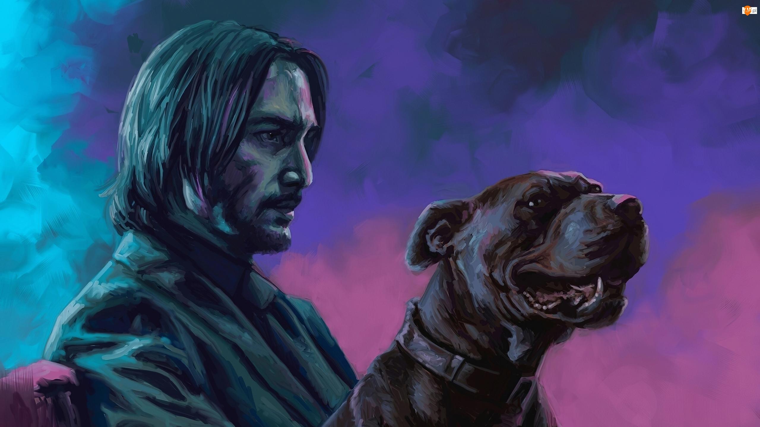 John Wick 3, Film, Keanu Reeves, Grafika, Aktor, Pies