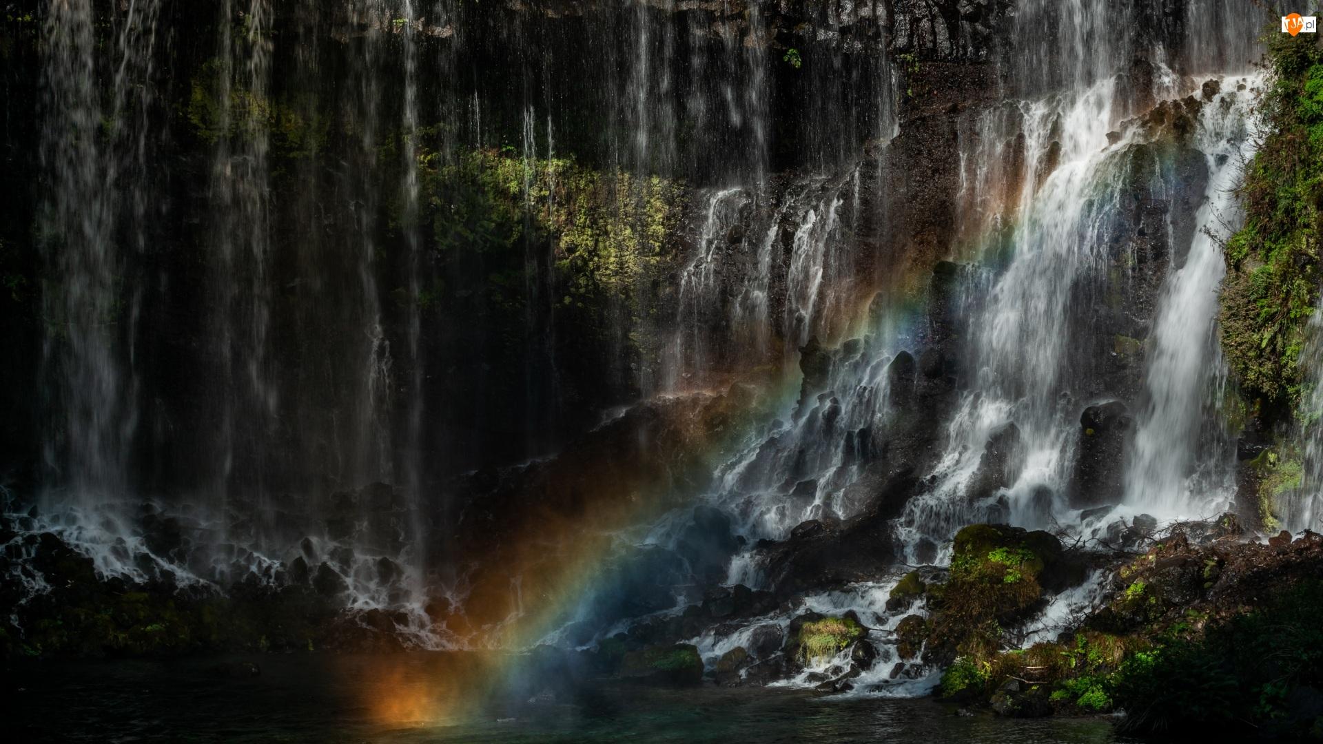 Omszałe, Skały, Japonia, Wodospad Shiraito, Park Narodowy Fudżi-Hakone-Izu, Tęcza, Kamienie