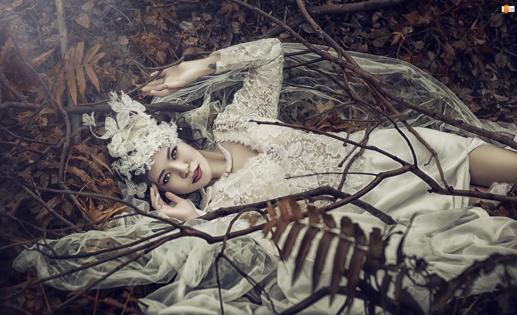 Panna młoda, Kobieta, Biała, Welon, Ślub, Suknia