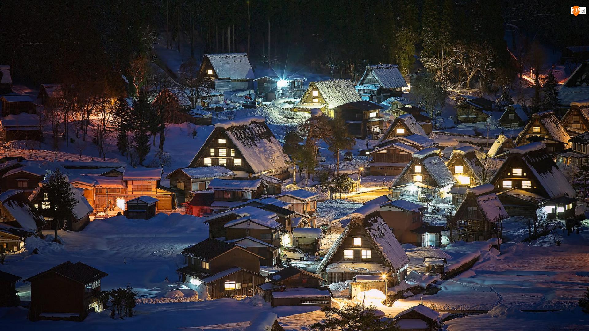 Oświetlone, Domy, Japonia, Zima, Honsiu, Prefektura Gifu, Wieś Shirakawa