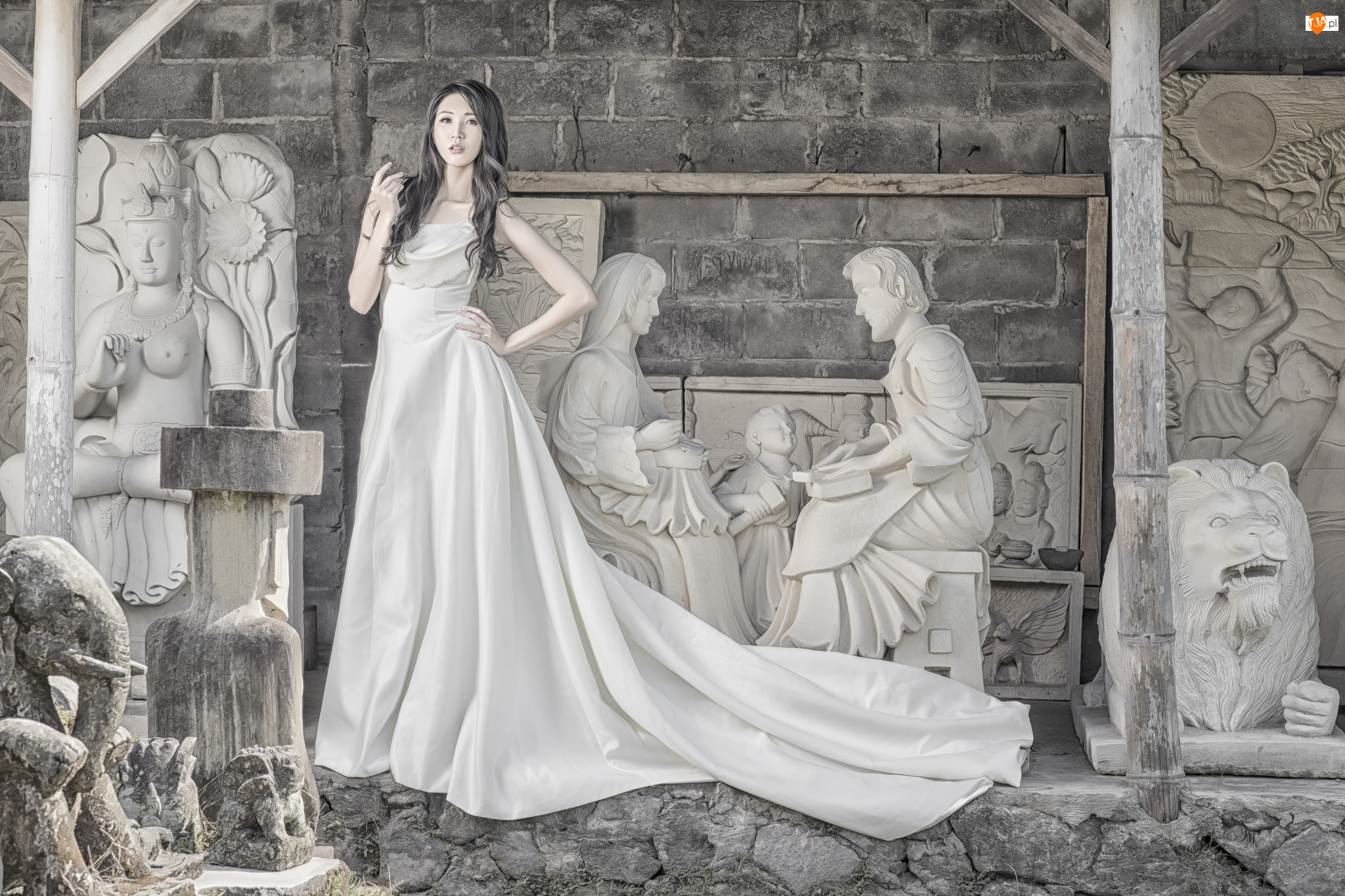 Długa, Biała, Kobieta, Rzeźby, Suknia, Azjatka