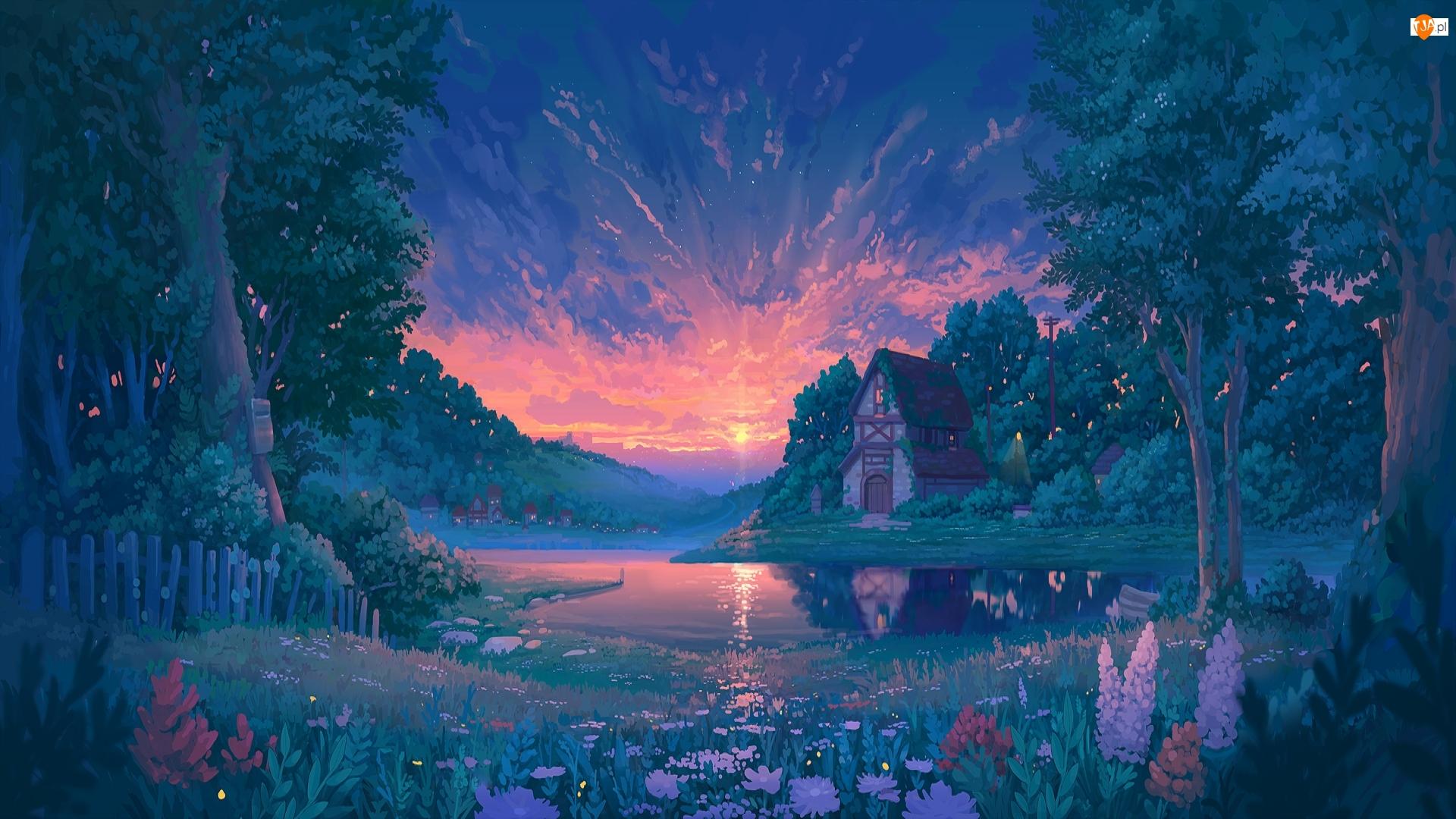Jezioro, Dom, Wschód słońca, Grafika, Drzewa, Kwiaty