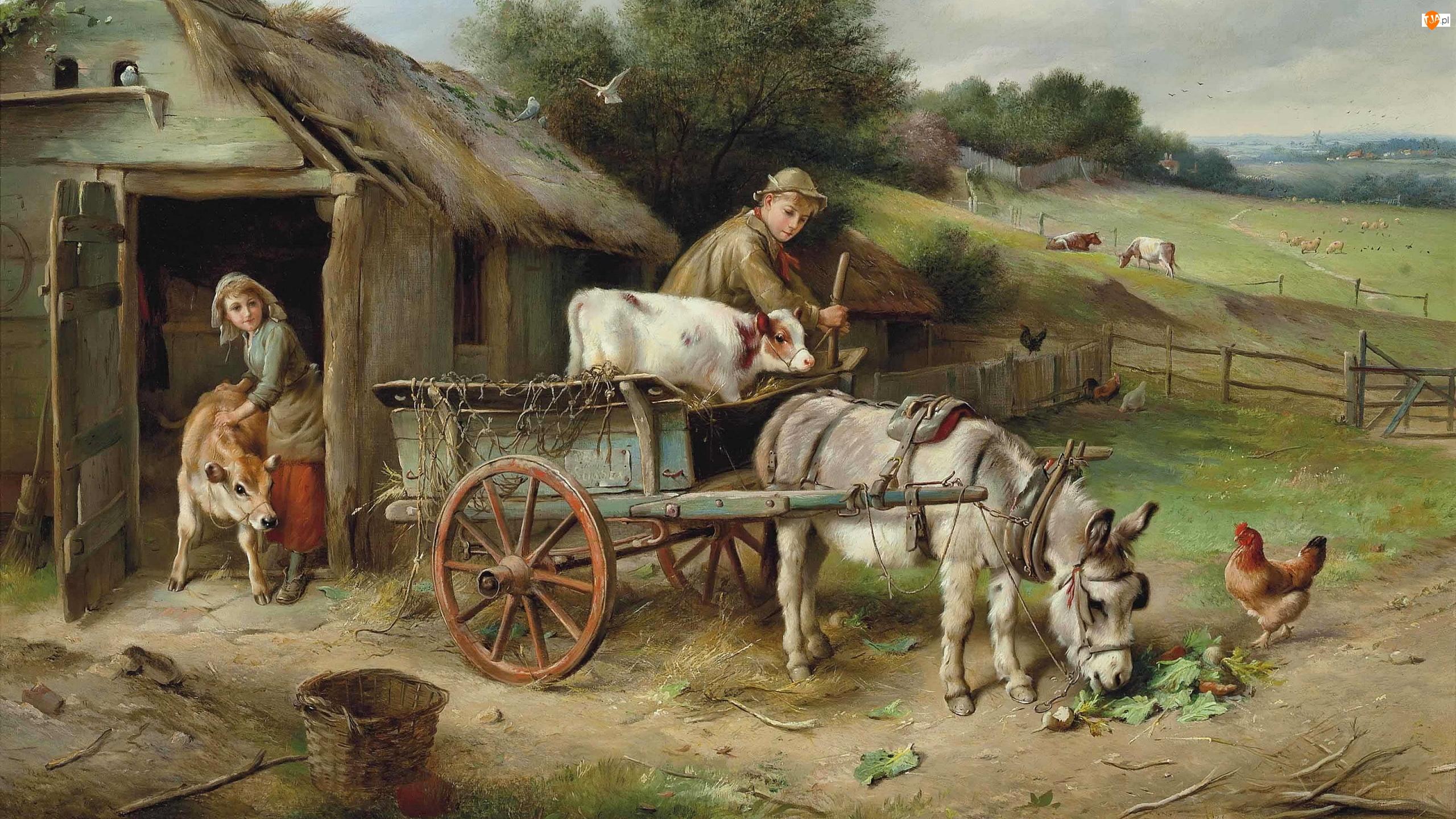 Obraz, Owce, Osioł, Stodoła, Mężczyzna, Wóz, Wieś, Zagroda, Walter Hunt, Pastwisko, Kobieta, Kury, Malarstwo, Krowy