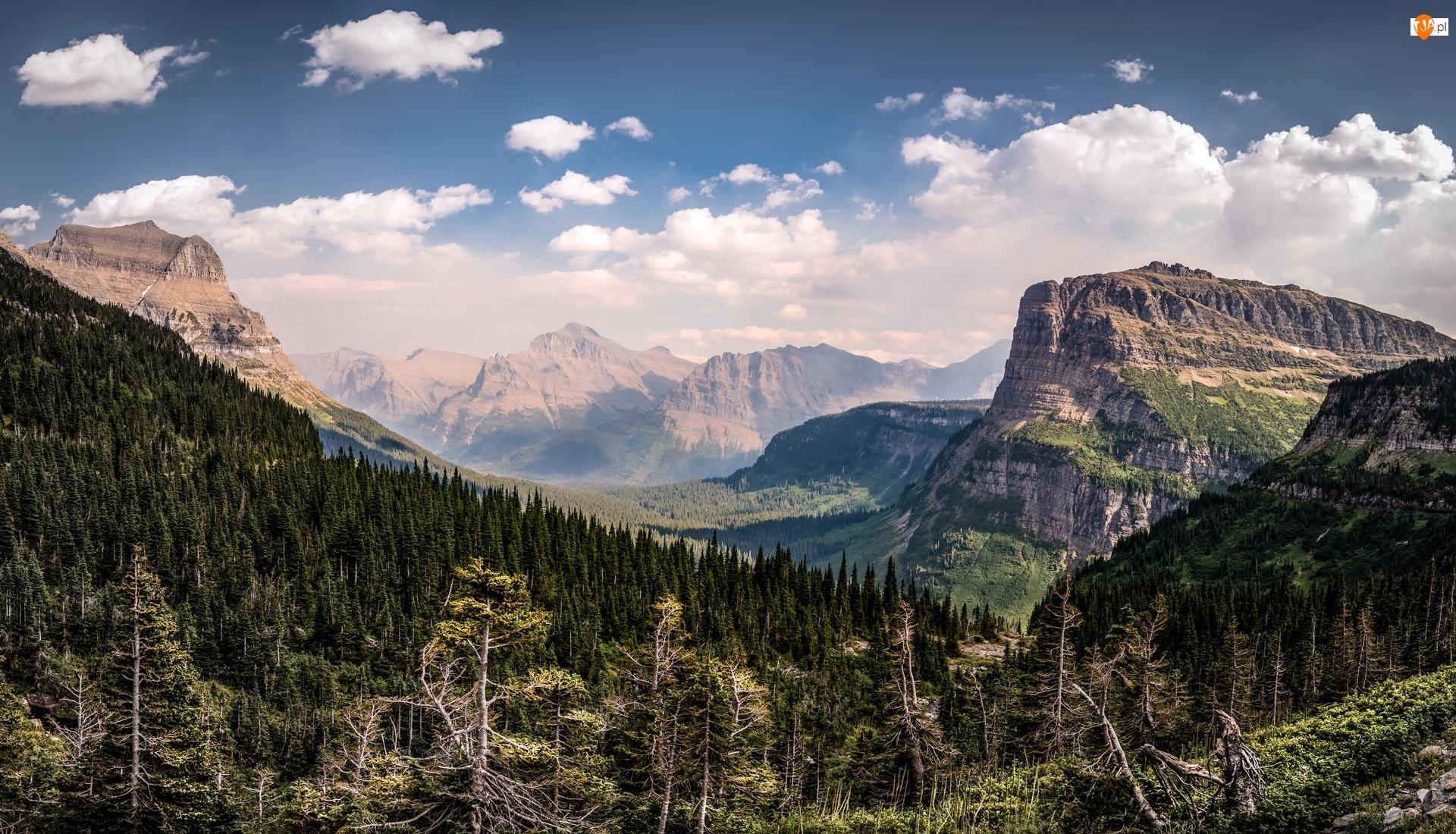 Góry Skaliste, Park Narodowy Glacier, Chmury, Stany Zjednoczone, Las, Montana