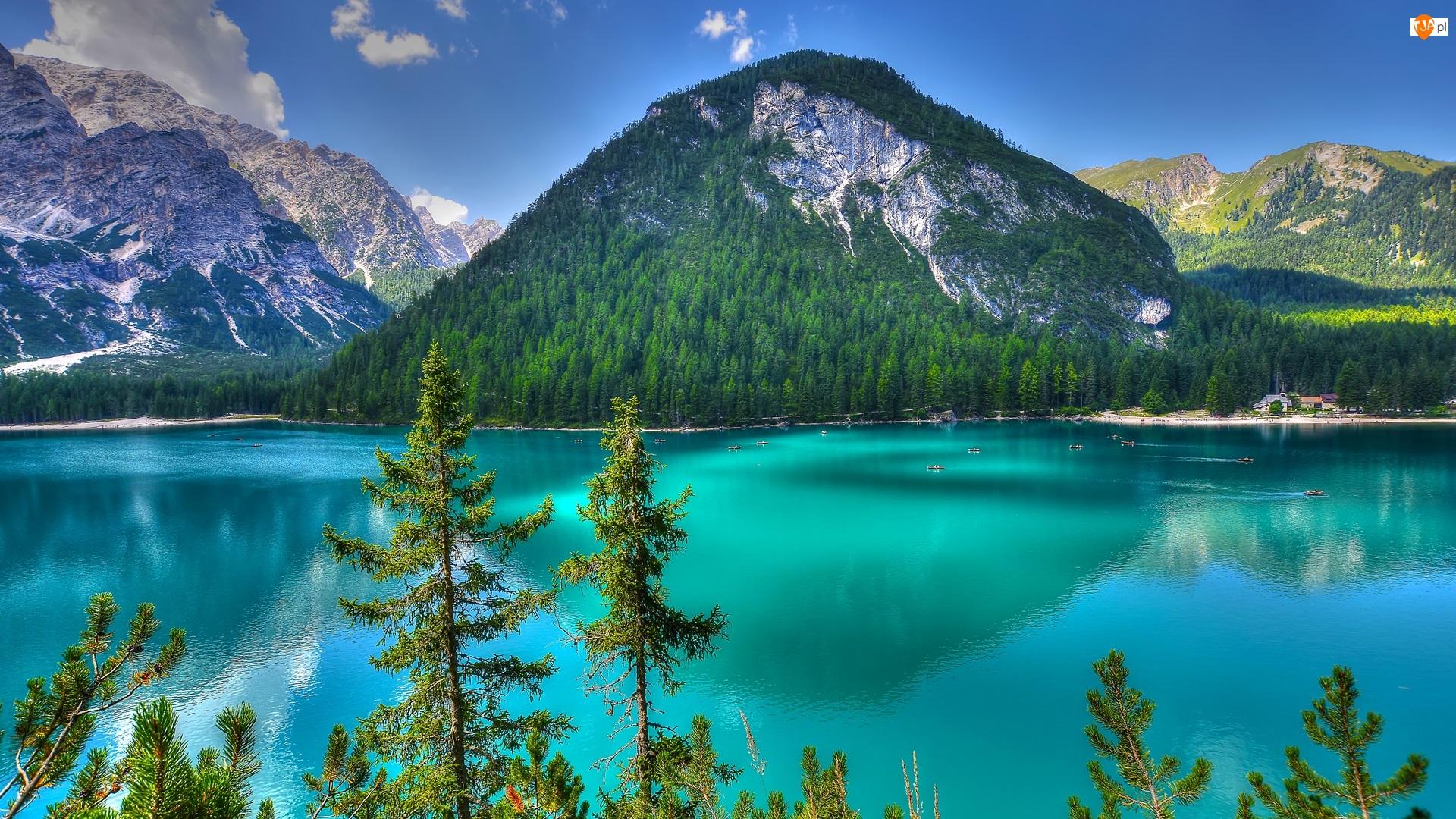 Las, Góry, Jezioro, Łódki