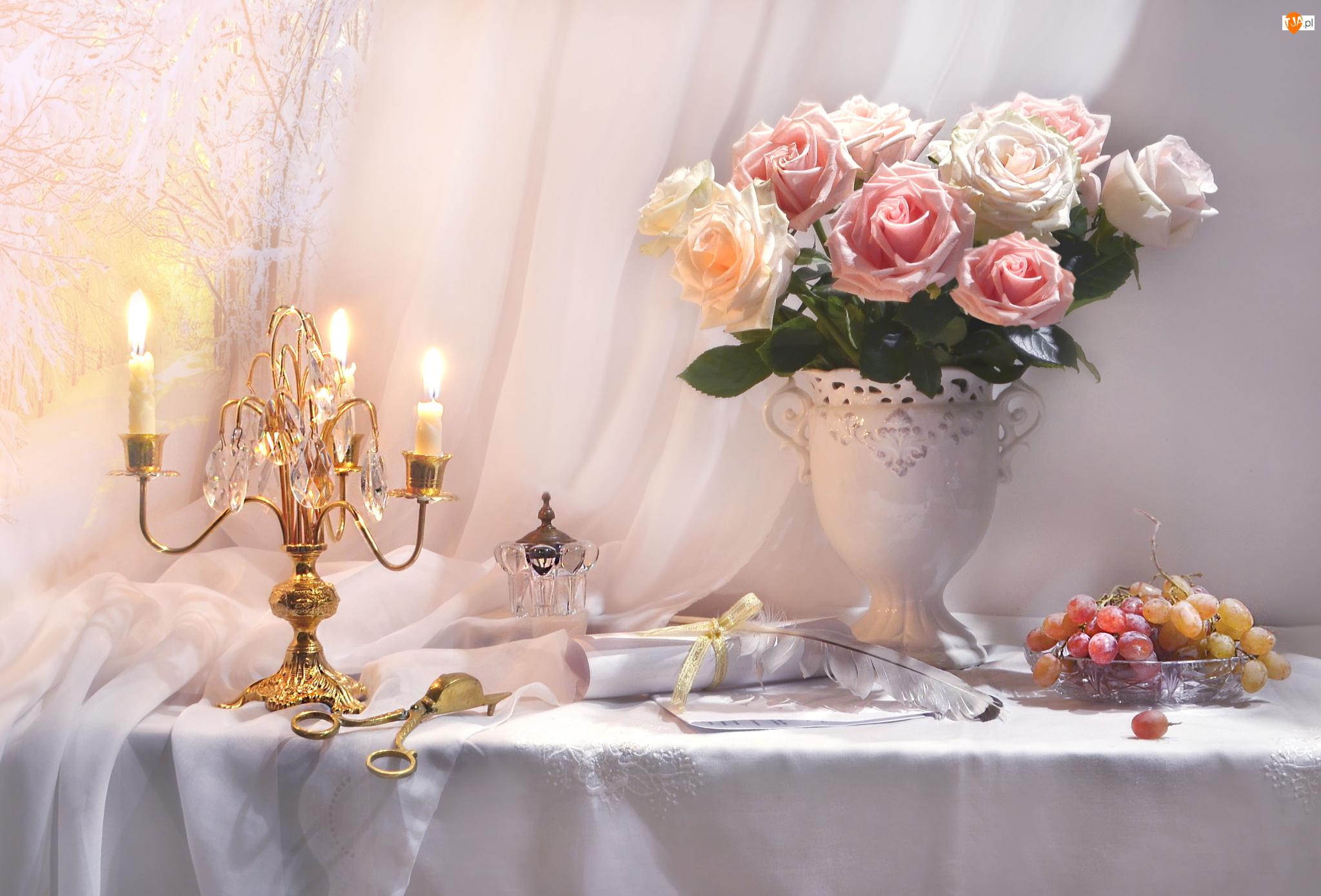 Wazon, Bukiet, Winogrona, Kompozycja, Świece, Świecznik, Róże