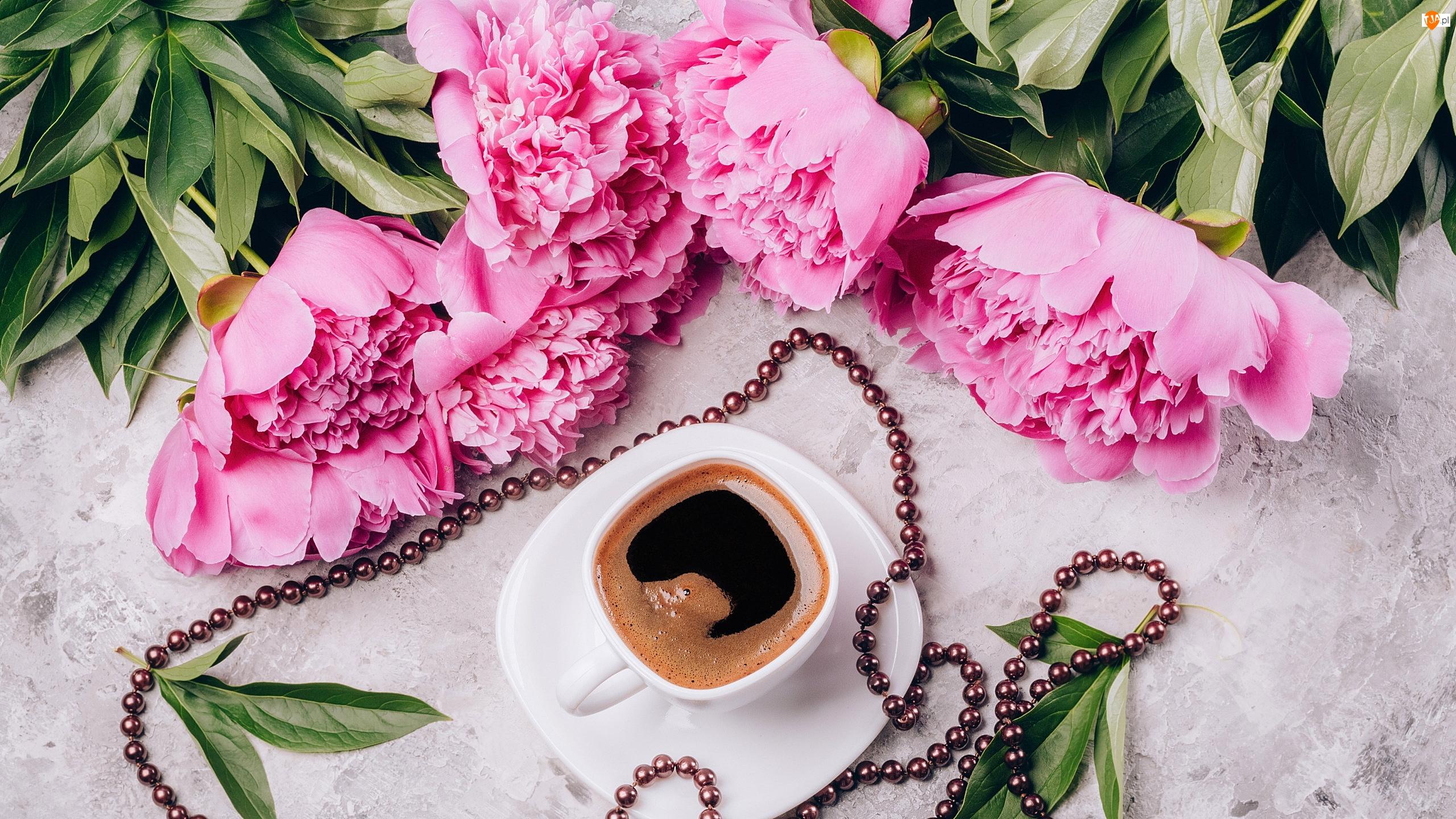 Filiżanka, Koraliki, Piwonie, Kwiaty, Kawa