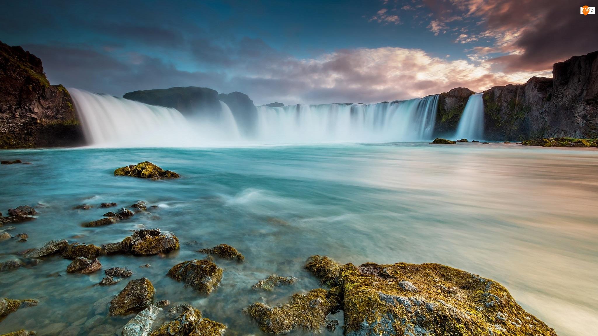 Skały, Islandia, Wodospad Godafoss, Rzeka Skjalfandafljot