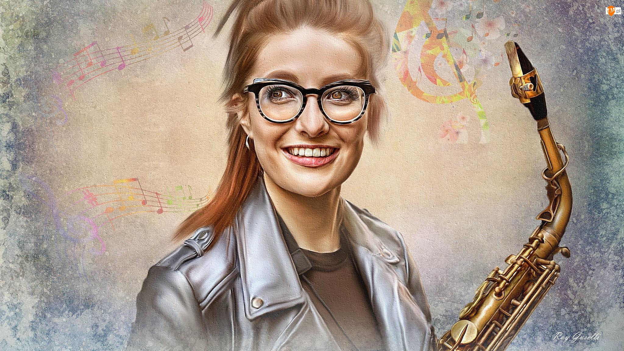 Grafika, Kobieta, Jess Gillam, Saksofon