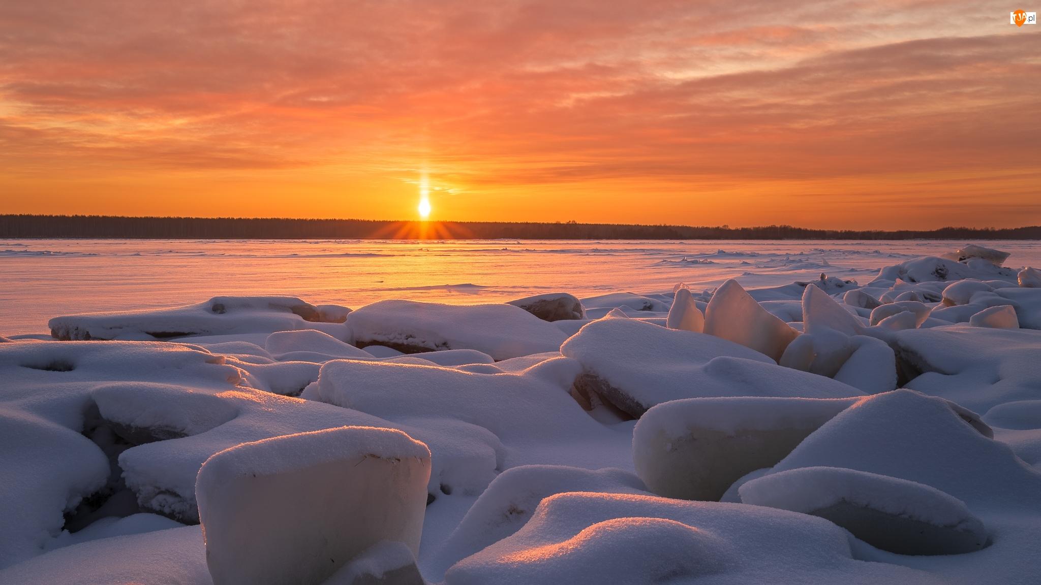 Zachód słońca, Zima, Rzeka Wołga, Rosja, Kry, Kostroma