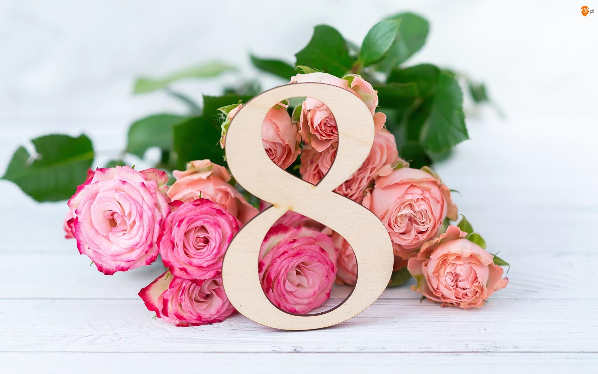 8 Marca, Dzień Kobiet, Róże, Kwiaty