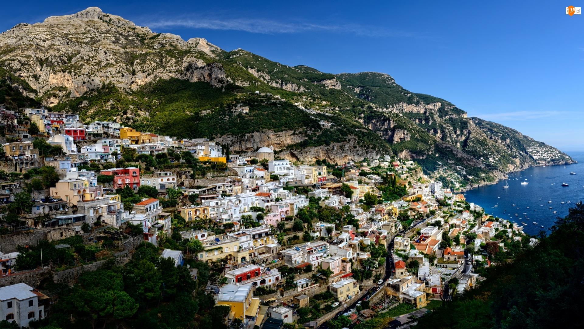 Salerno, Amalfi, Domy, Włochy, Góry, Wybrzeże, Morze