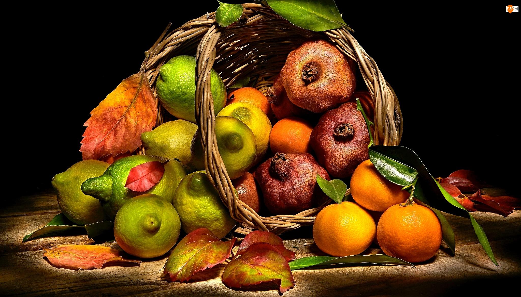Koszyk, Owoce, Granaty, Liście, Cytryny, Mandarynki