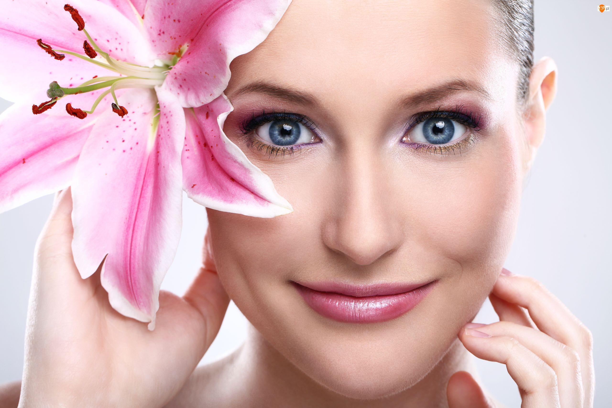 Makijaż, Lilia, Uśmiech, Kobieta, Kwiat