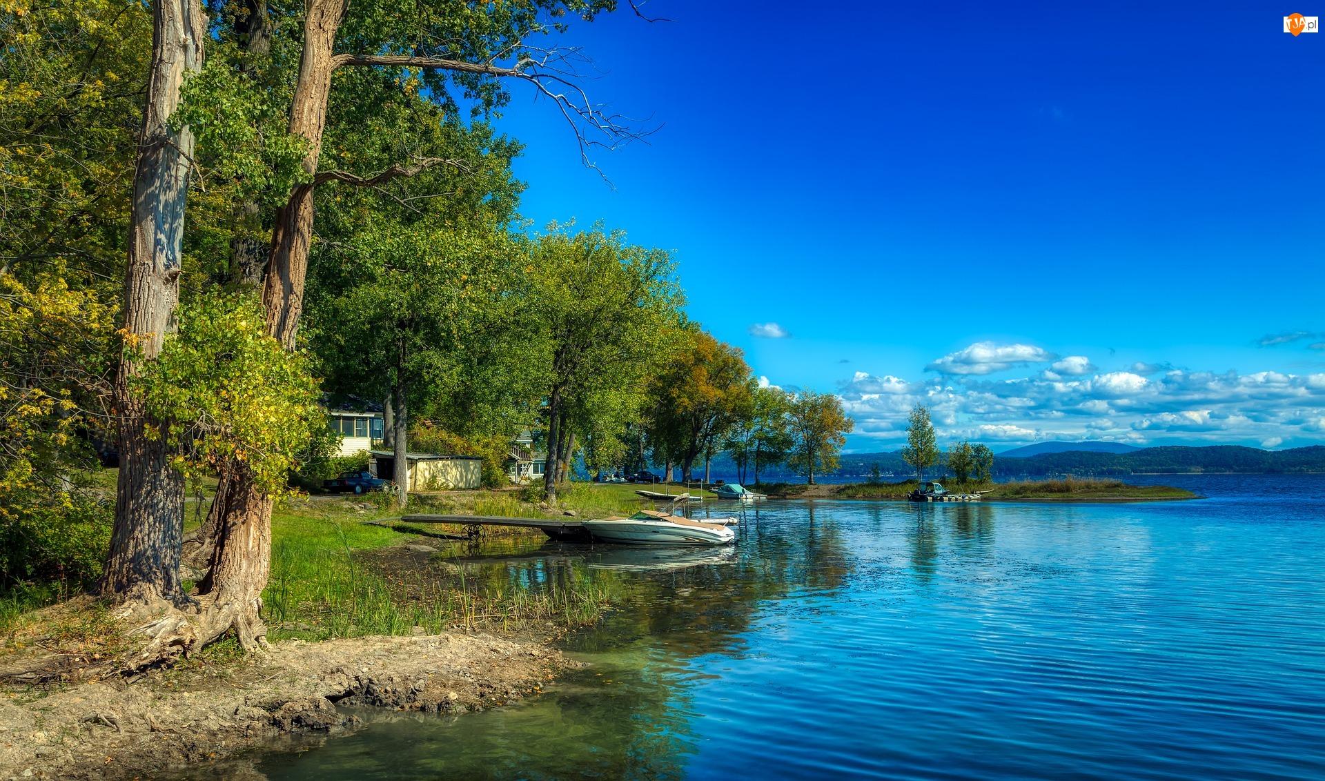 Jezioro, Lato, Drzewa, Niebo, Łódki, Błękitne