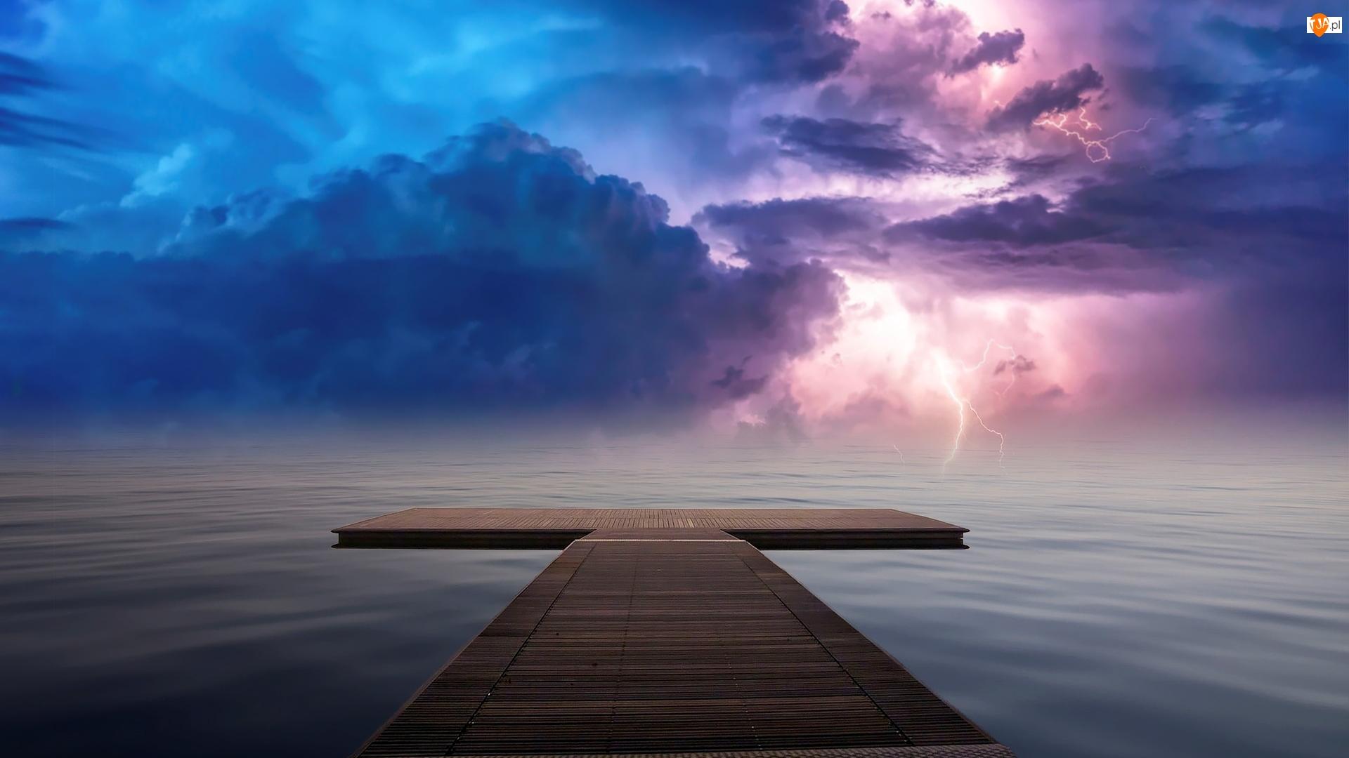 Pomost, Morze, Chmury, 2D, Niebo, Pioruny