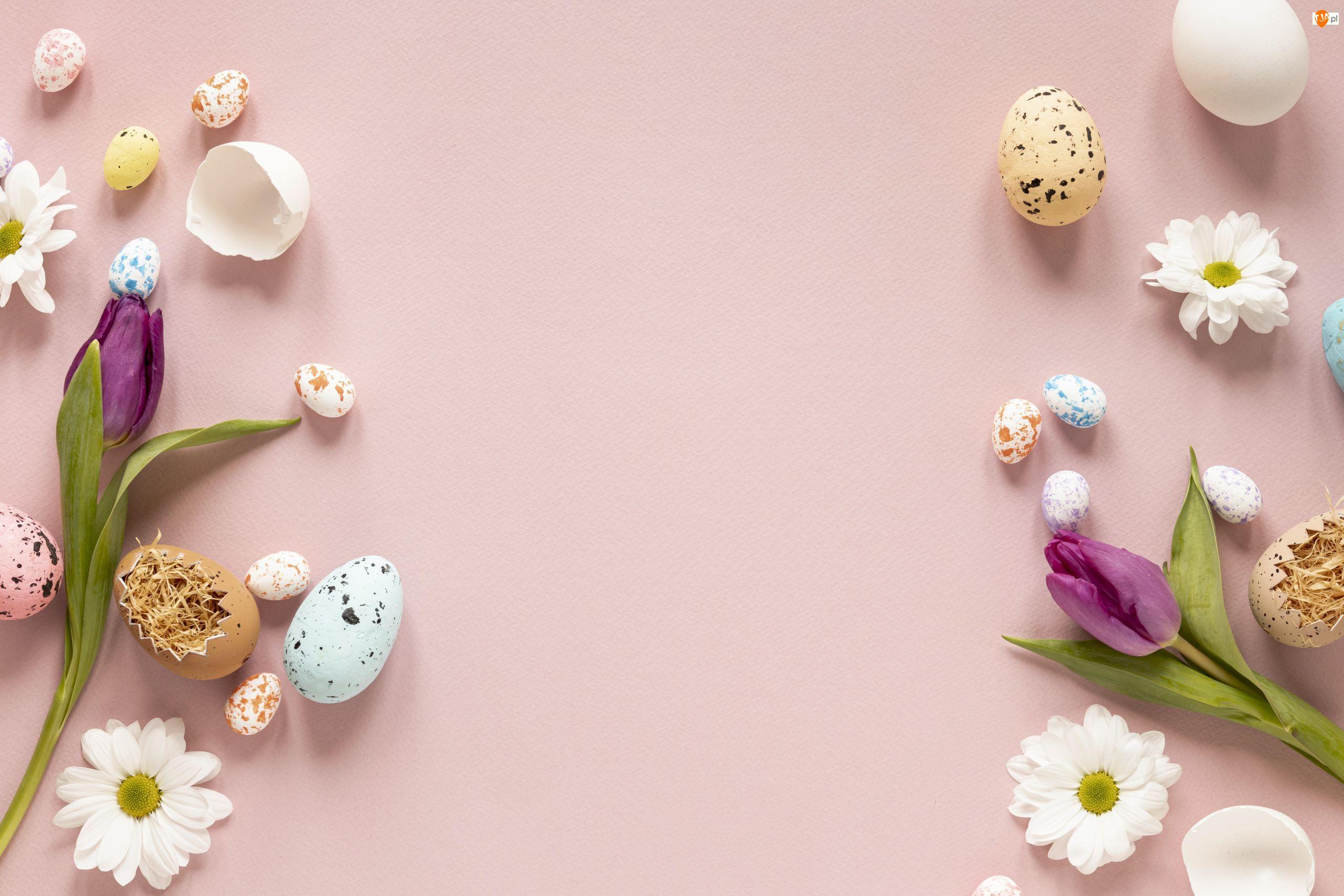 Kwiaty, Wielkanoc, Pisanki, Jajka, Tulipany