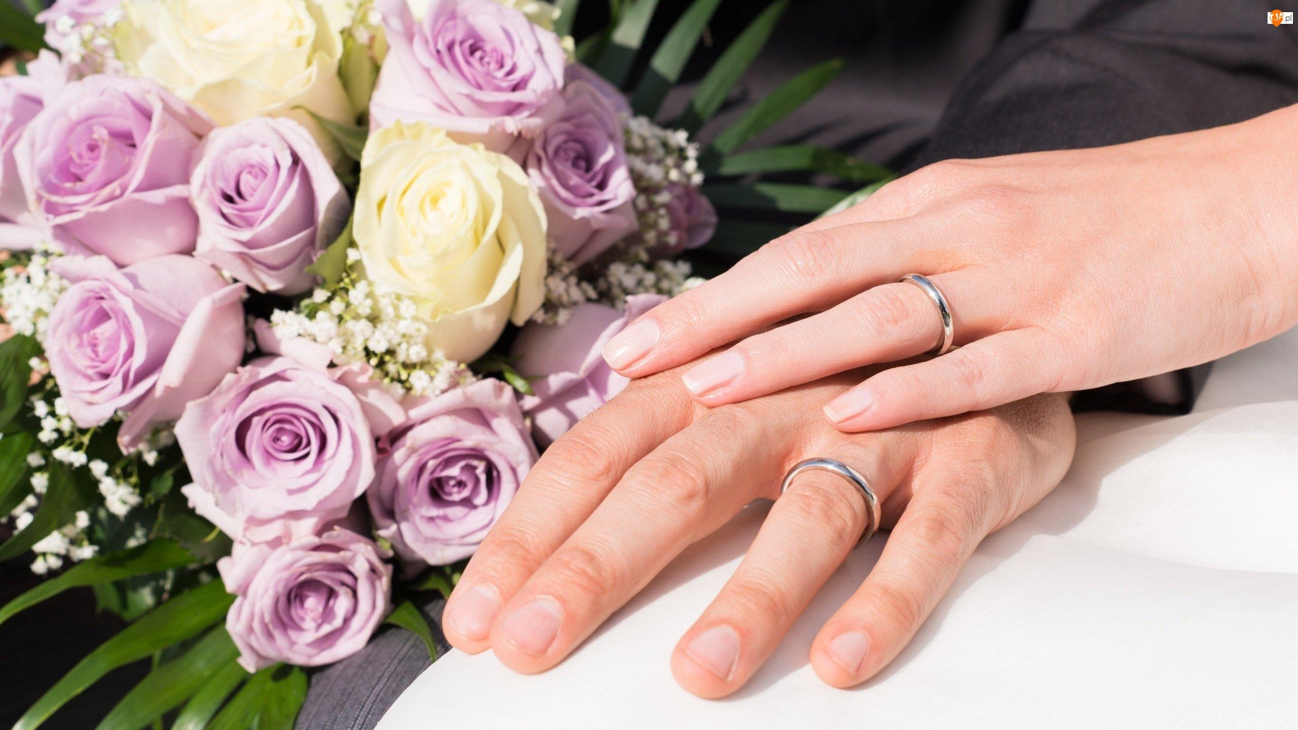 Róże, Dłonie, Ślub, Obrączki