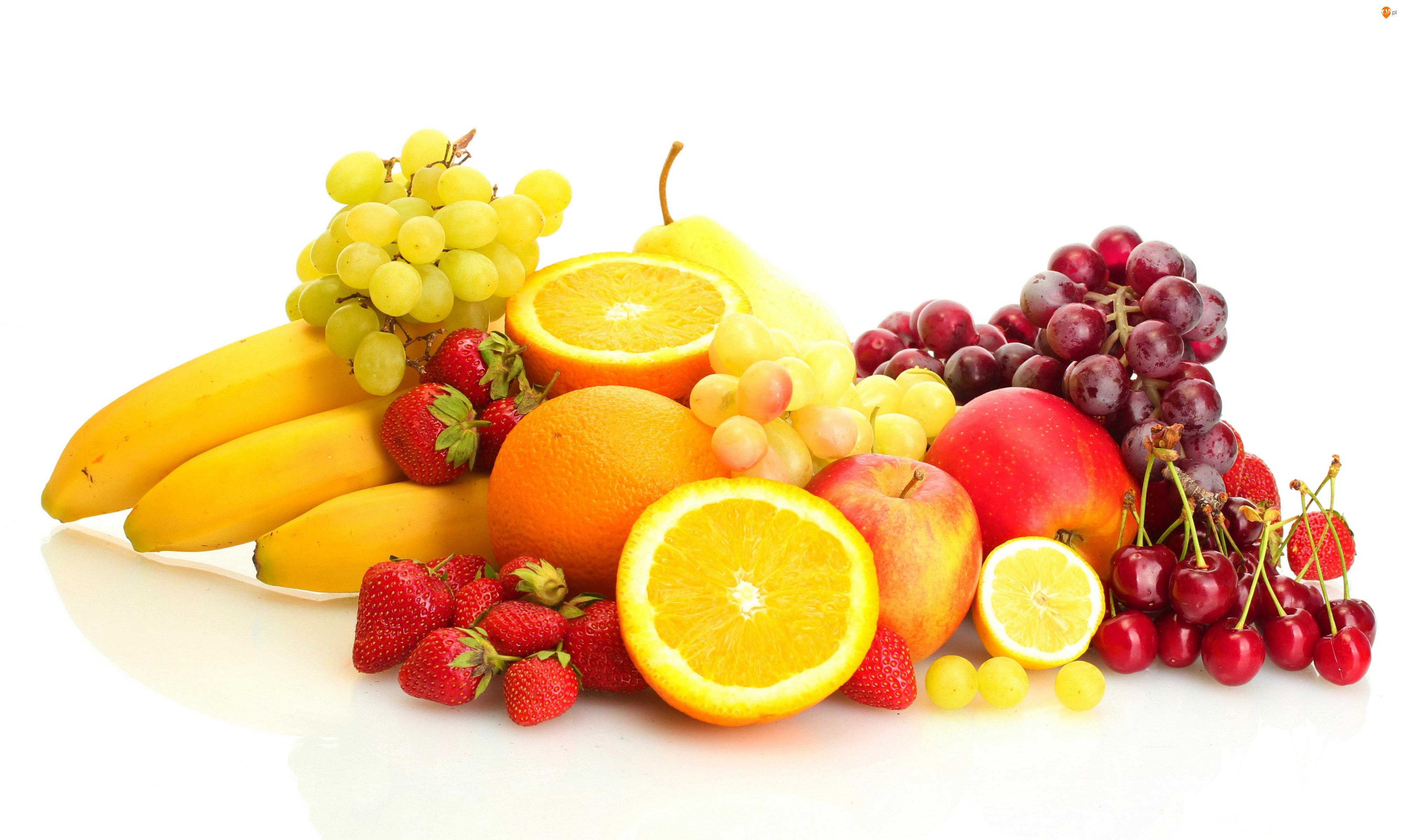 Pomarańcze, Owoce, Winogrona, Banany