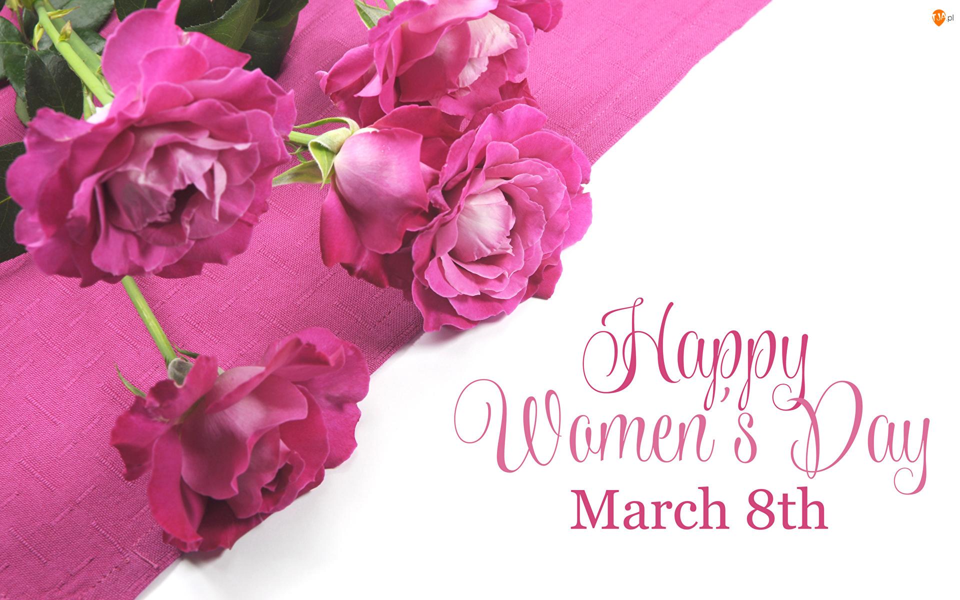Różowe, Napis, Bukiet, Dzień Kobiet, Róże