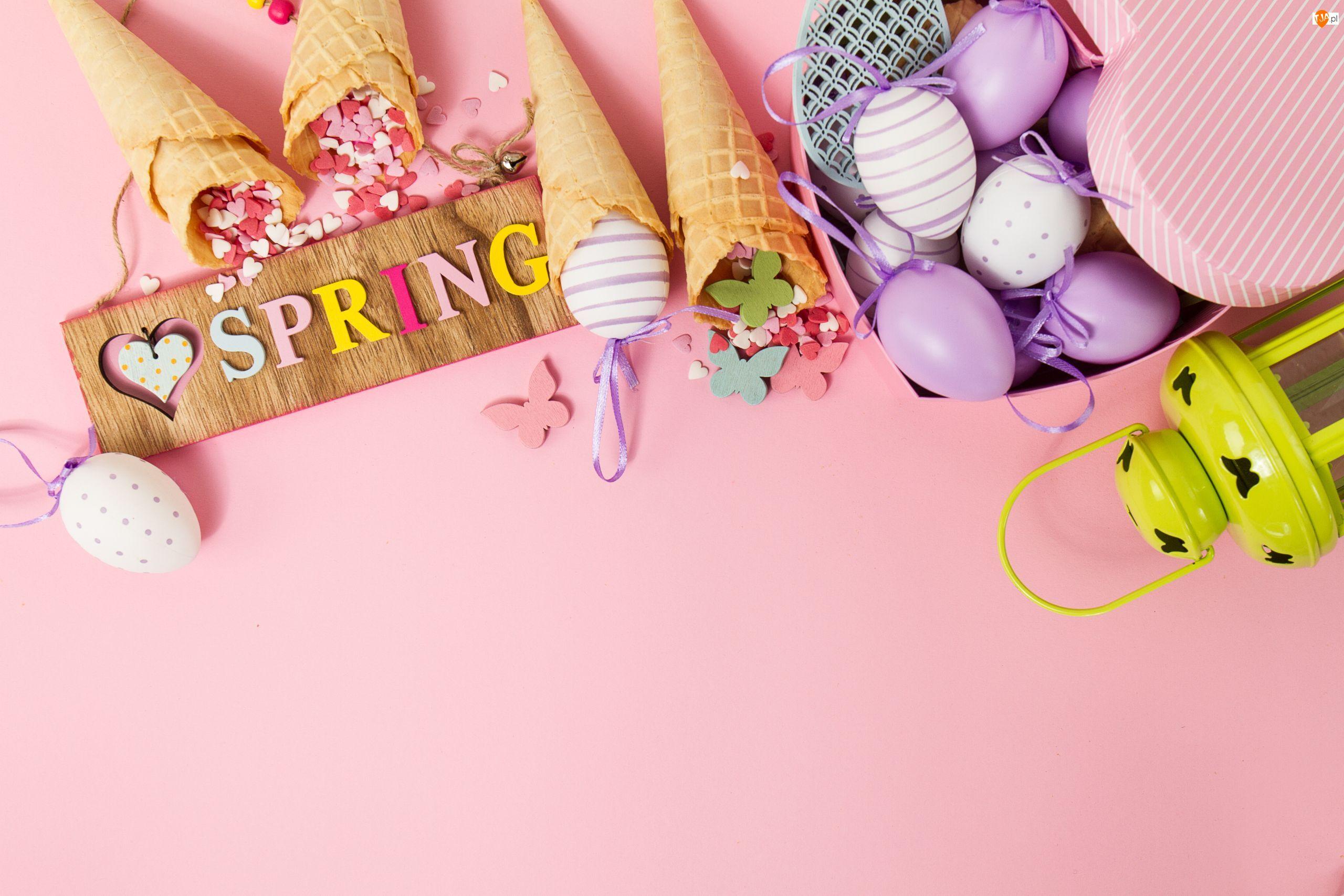 Wielkanoc, Spring, Lampion, Pudełko, Jajeczka, Wafelki, Serduszka, Napis, Motylki