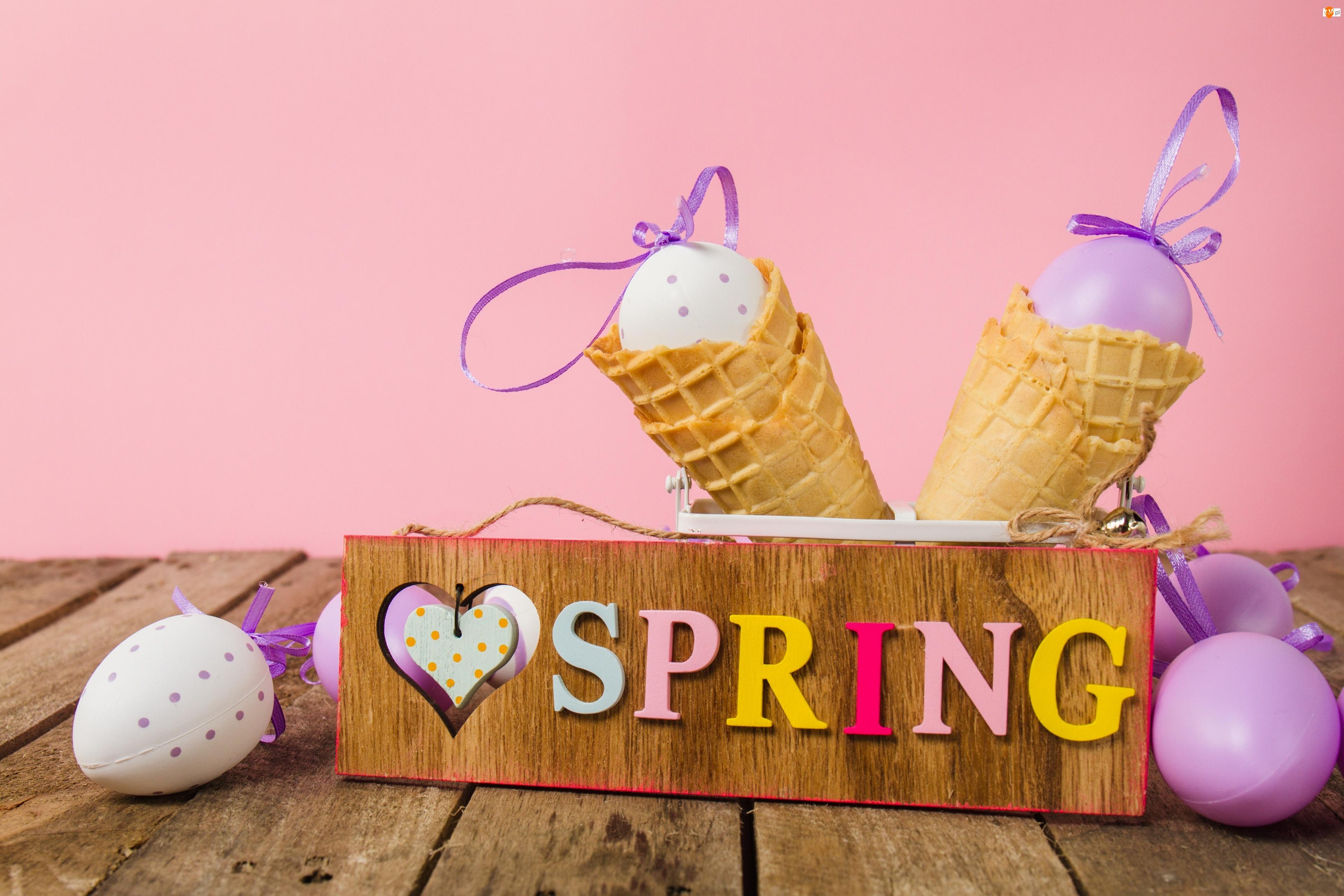 Spring, Wielkanoc, Napis, Wiosna, Wafelki