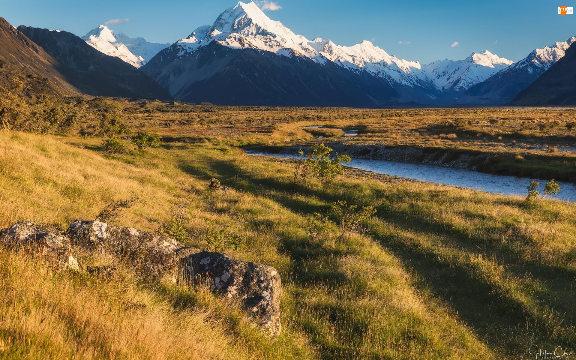 Rzeka, Tasman River, Nowa Zelandia, Góra Cooka, Trawa, Drzewa, Skały