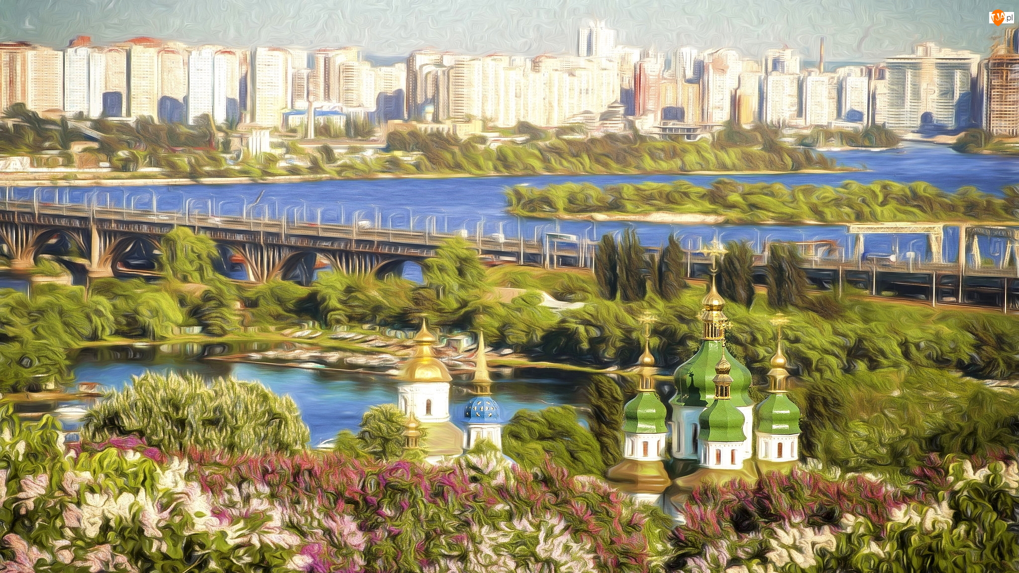 Rzeka, Domy, Cerkiew, Grafika, Most, Roślinność