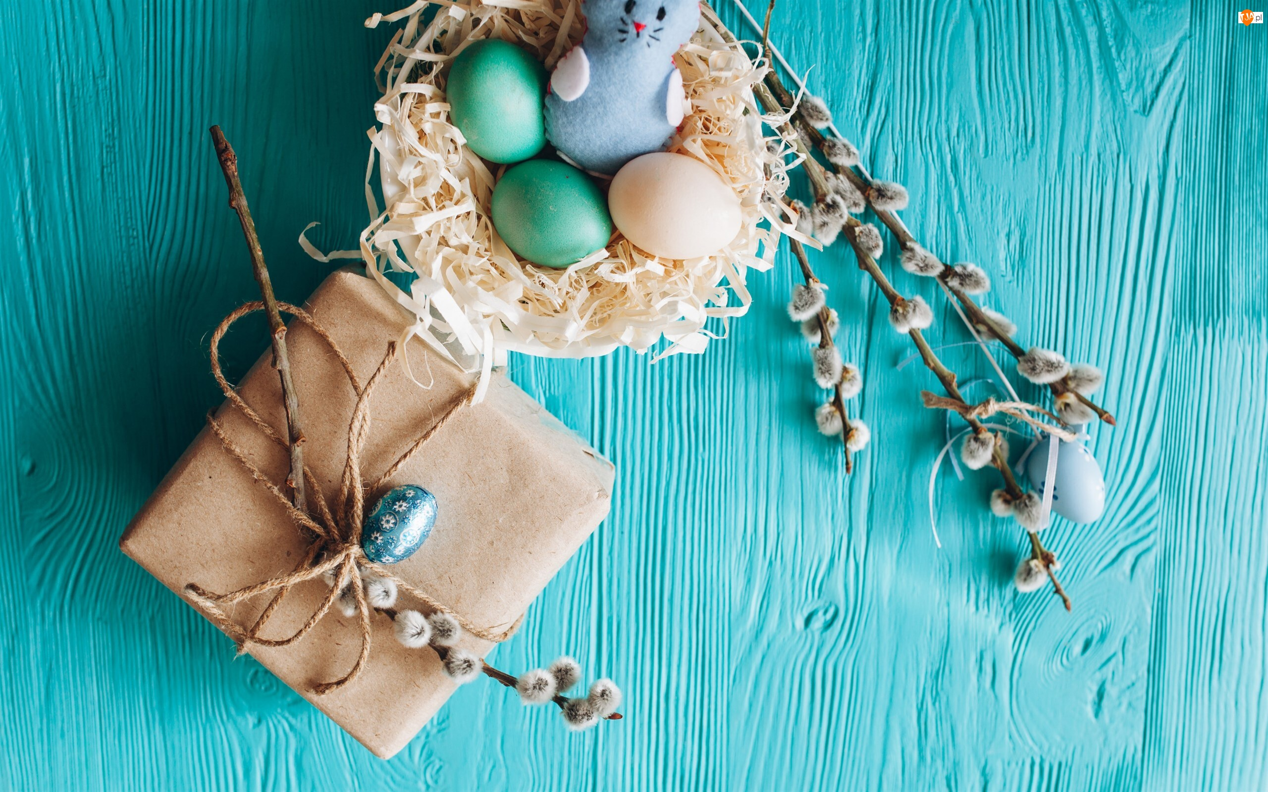 Bazie, Wielkanoc, Kolorowe, Gniazdo, Prezent, Jajka