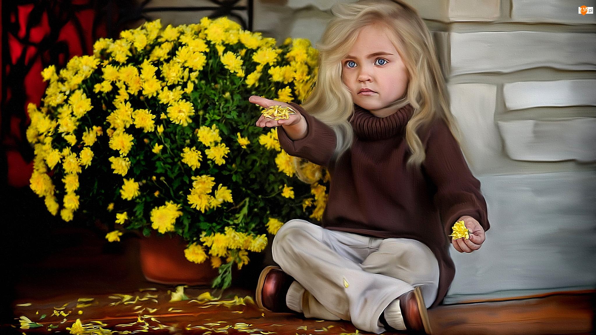 Żółte, Grafika, Ściana, Dziewczynka, Chryzantemy