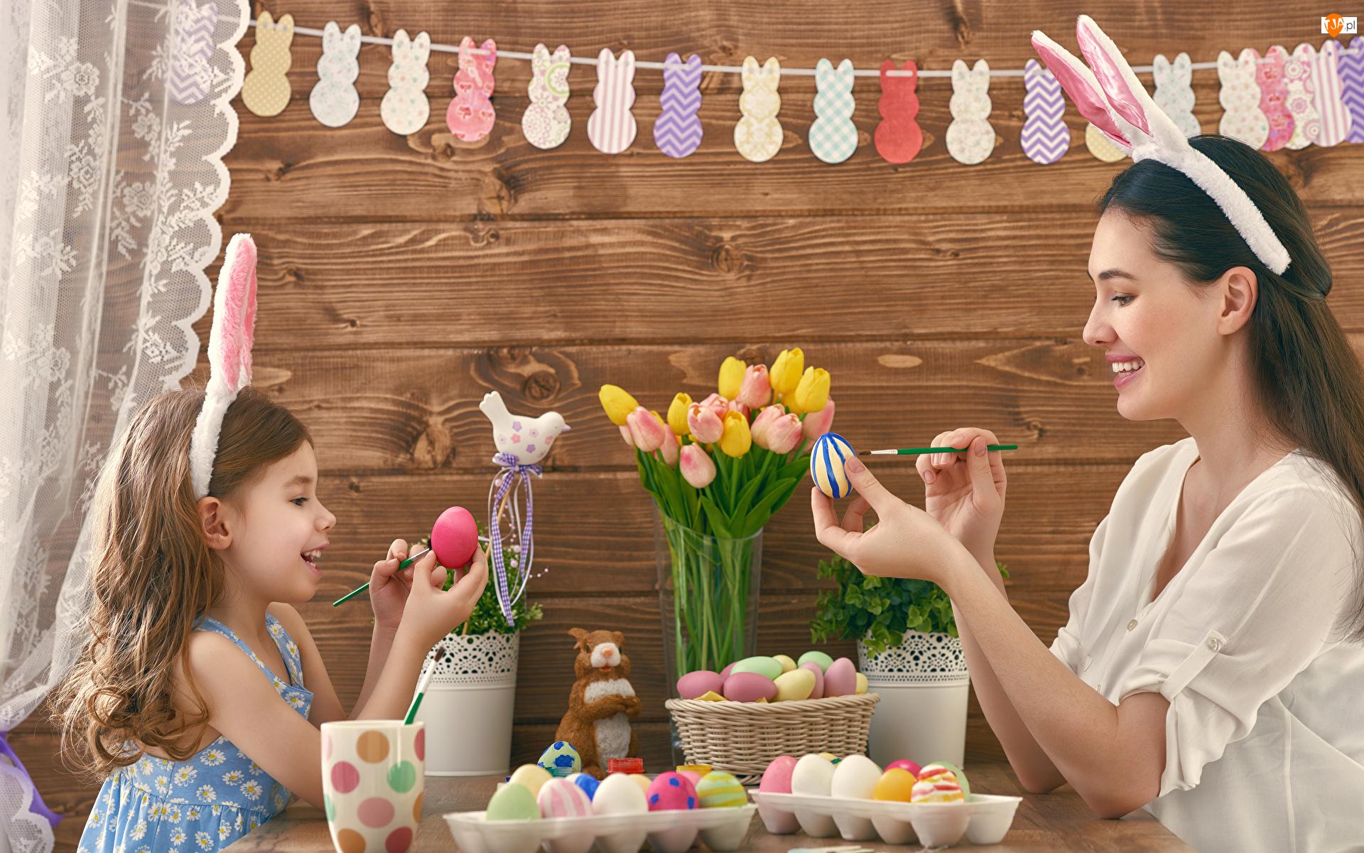 Tulipany, Mama, Pisanek, Jajka, Malowanie, Kobieta, Dziecko, Wielkanoc, Dziewczynka