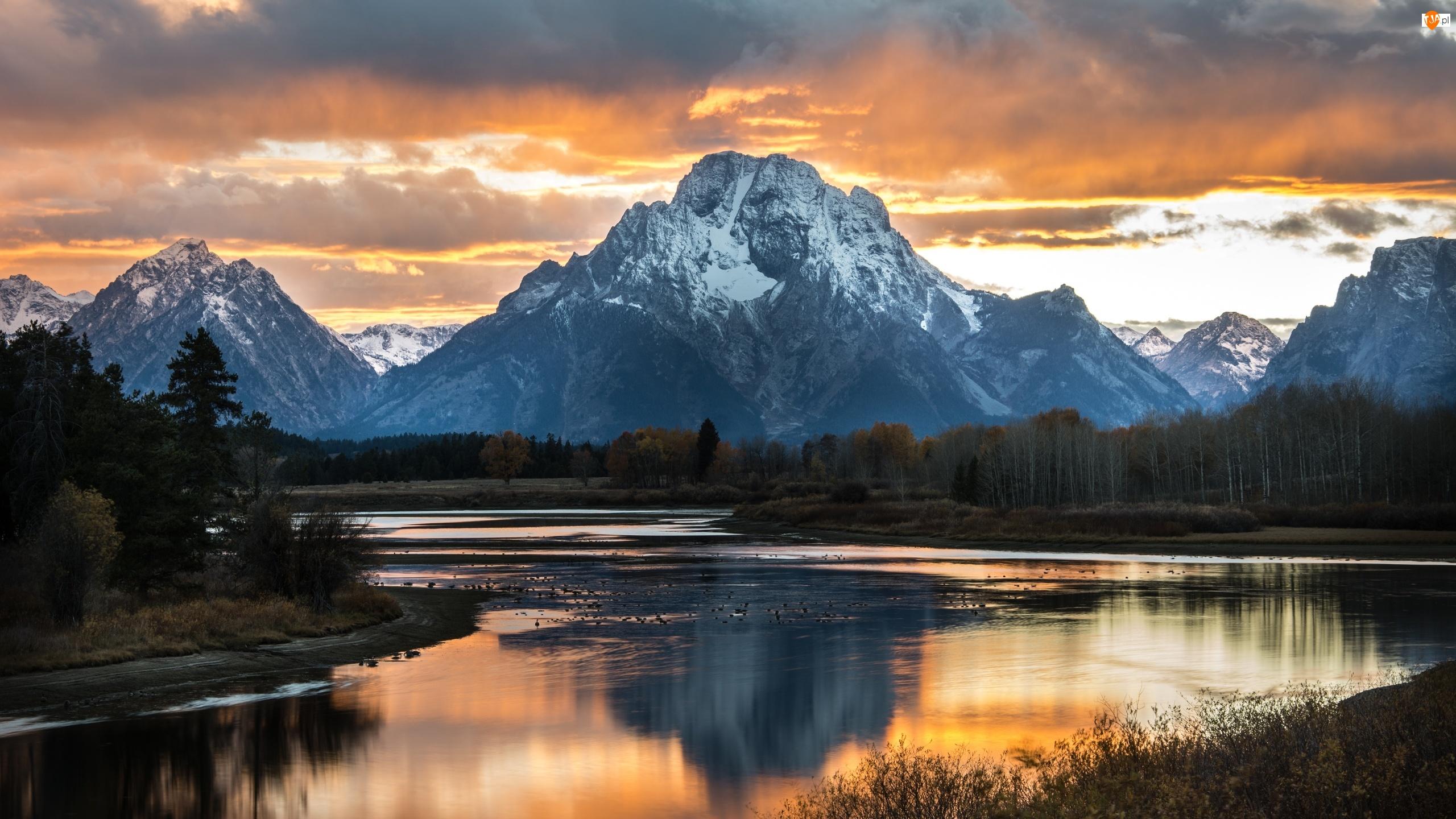 Odbicie, Las, Chmury, Drzewa, Stan Wyoming, Stany Zjednoczone, Góry, Park Narodowy Grand Teton, Szczyt Mount Moran, Rzeka Snake River