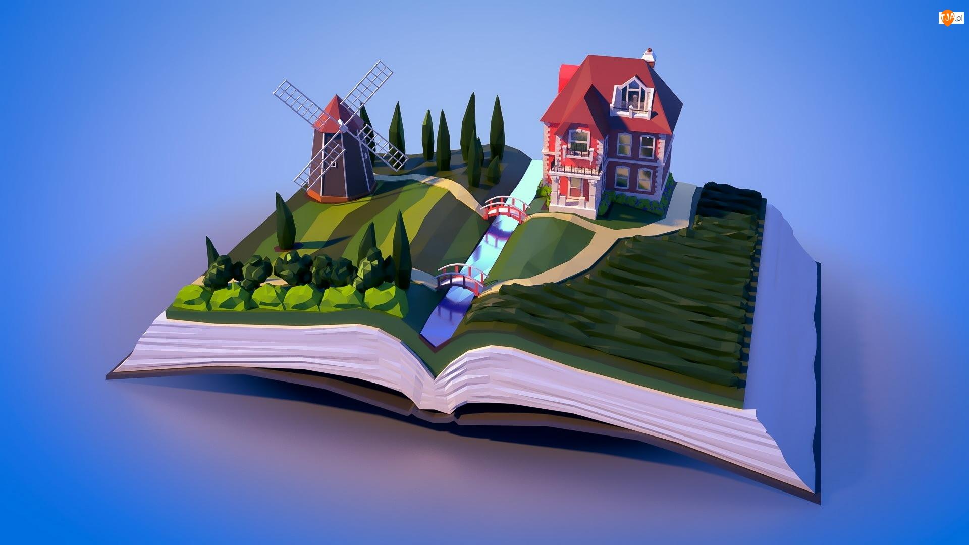 Wiatrak, 3D, Rzeka, Książka, Dom